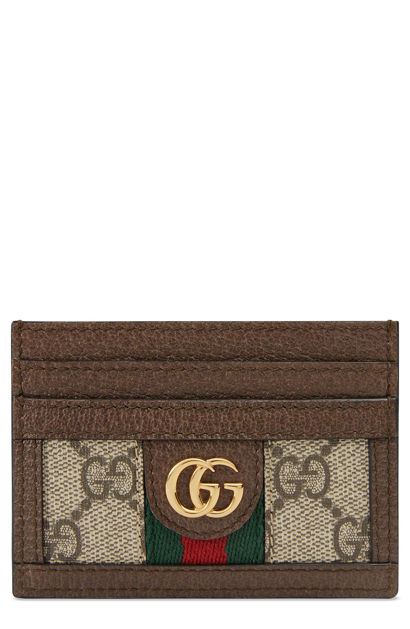 GUCCI, Ophidia GG Supreme Card Case, Main thumbnail 1, color, BEIGE EBONY/ ACERO/ VERT RED