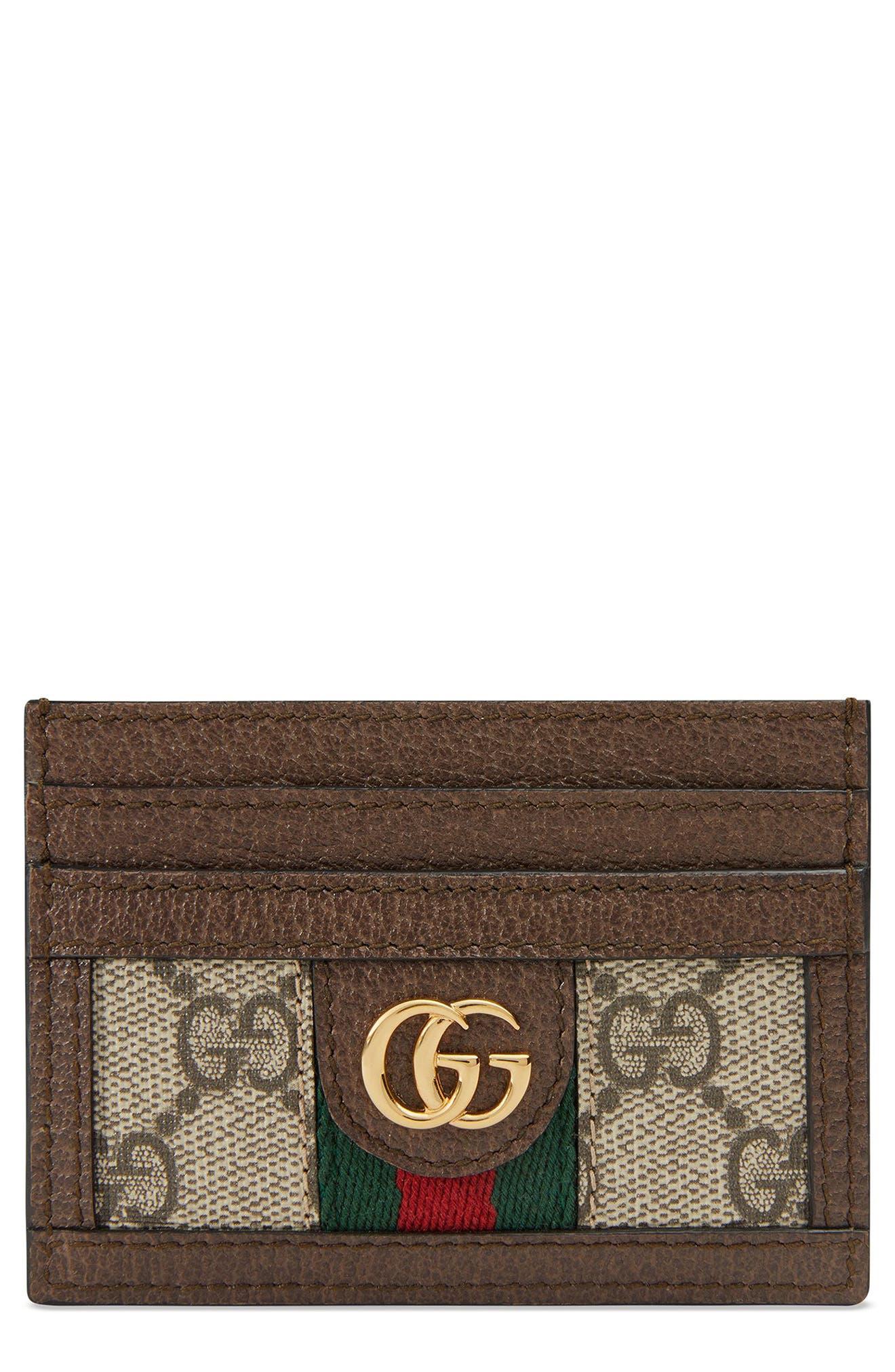 GUCCI Ophidia GG Supreme Card Case, Main, color, BEIGE EBONY/ ACERO/ VERT RED