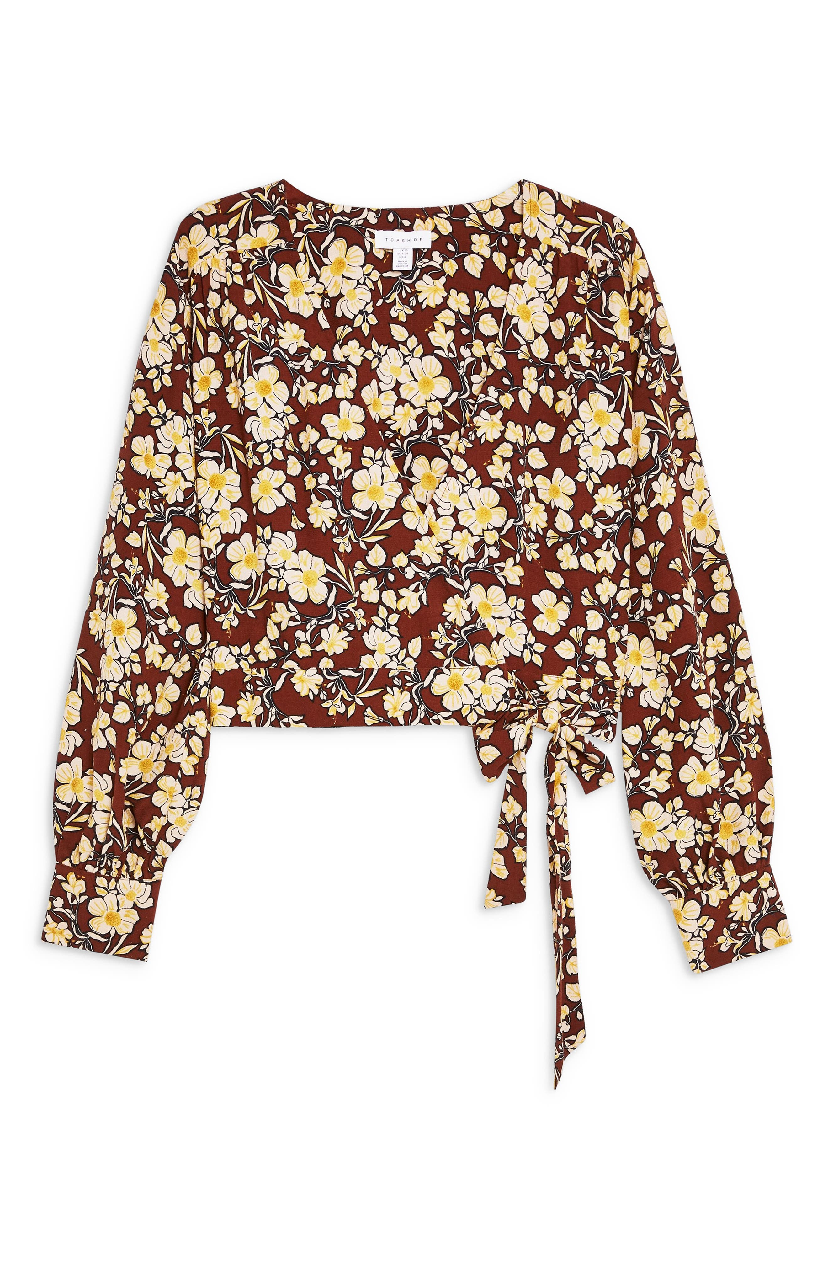 TOPSHOP, Floral Wrap Crop Blouse, Alternate thumbnail 4, color, BROWN MULTI