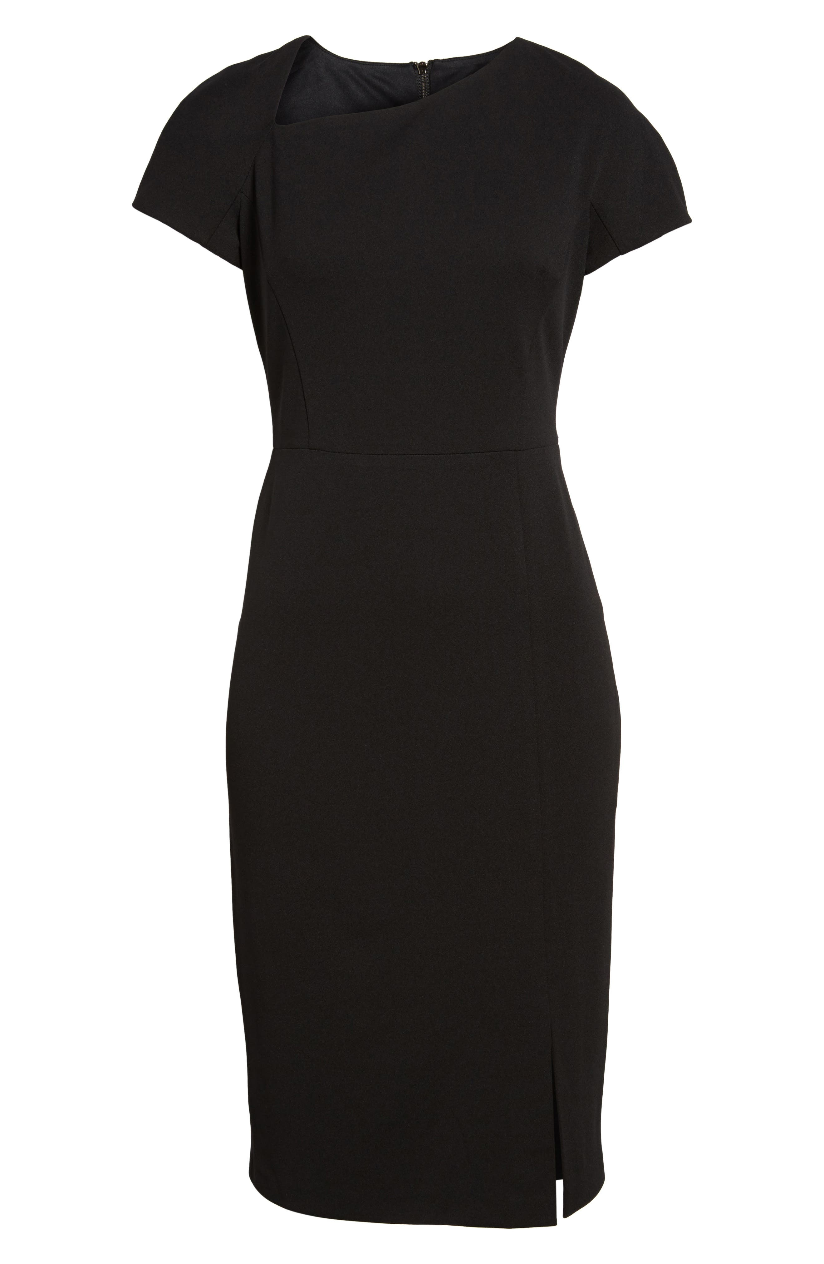 MAGGY LONDON, Asymmetrical Sheath Dress, Alternate thumbnail 6, color, 001