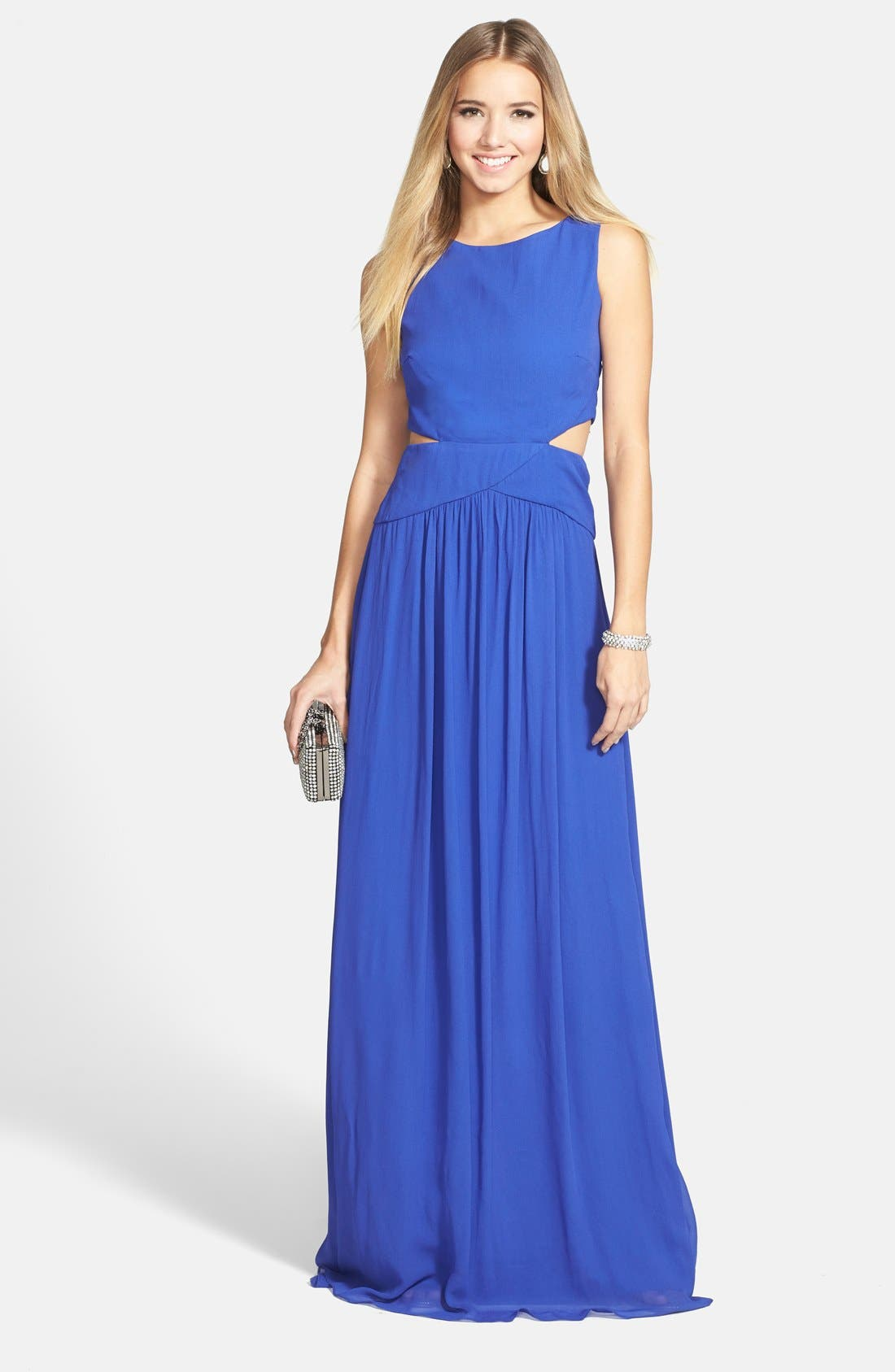 NICOLE MILLER 'Queen of the Night' Georgette Gown, Main, color, 400