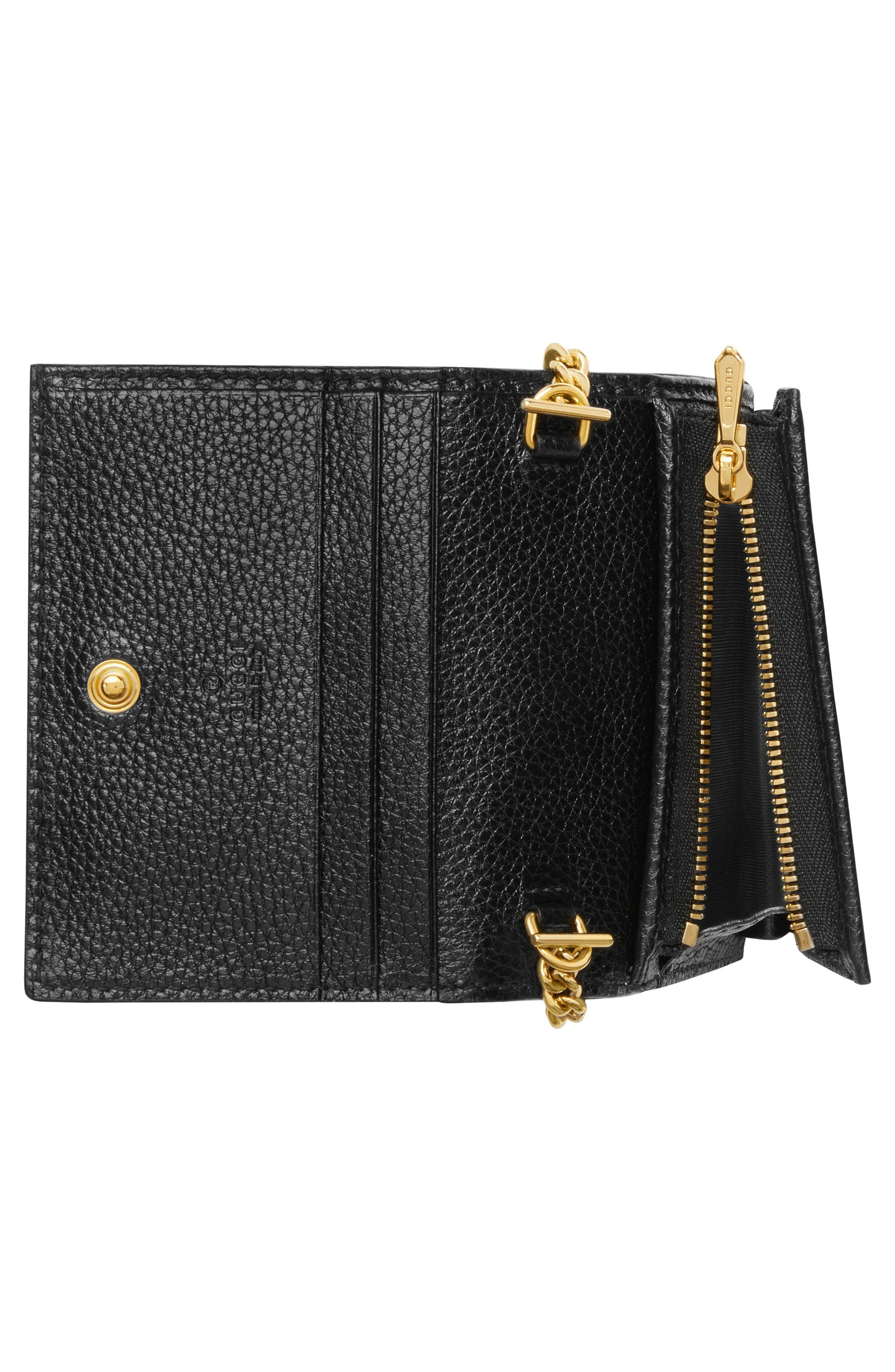 GUCCI, Zumi 655 Leather Wallet on a Chain, Alternate thumbnail 3, color, BLACK