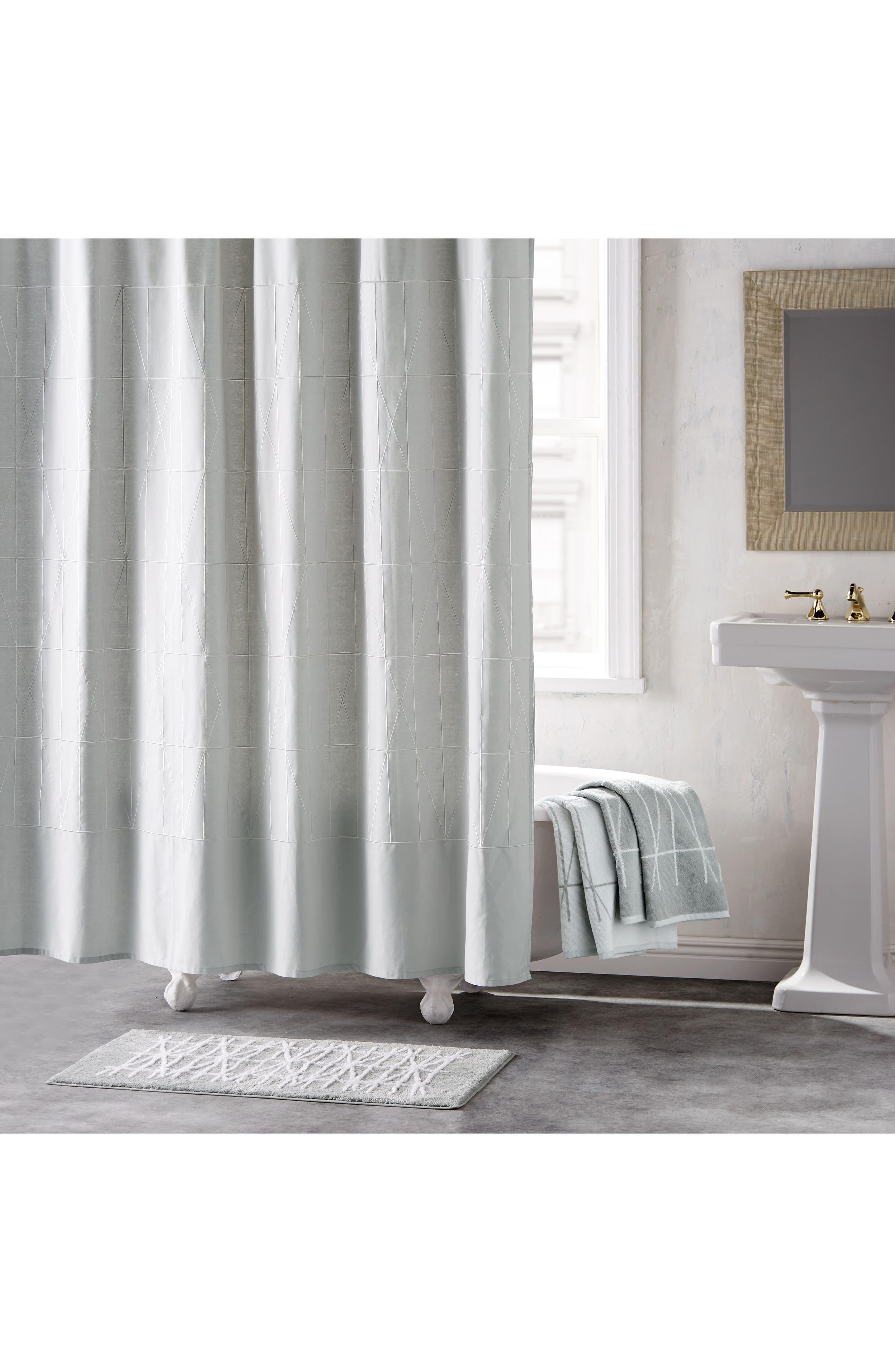 DKNY Geometrix Shower Curtain, Main, color, WHITE/ SLATE