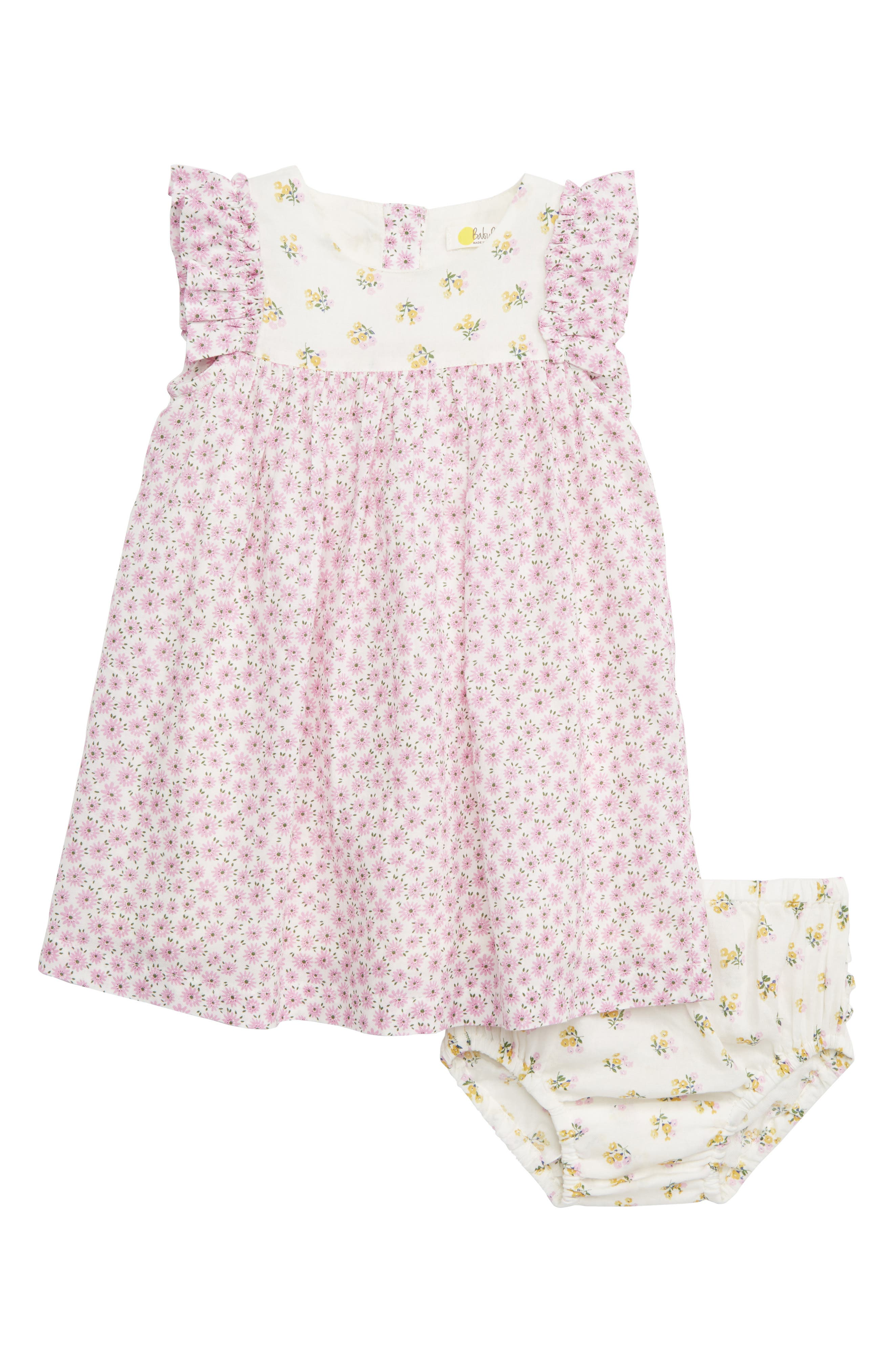 MINI BODEN Mixed Floral Print Woven Dress, Main, color, PRP LILAC PINK BLOSSOM