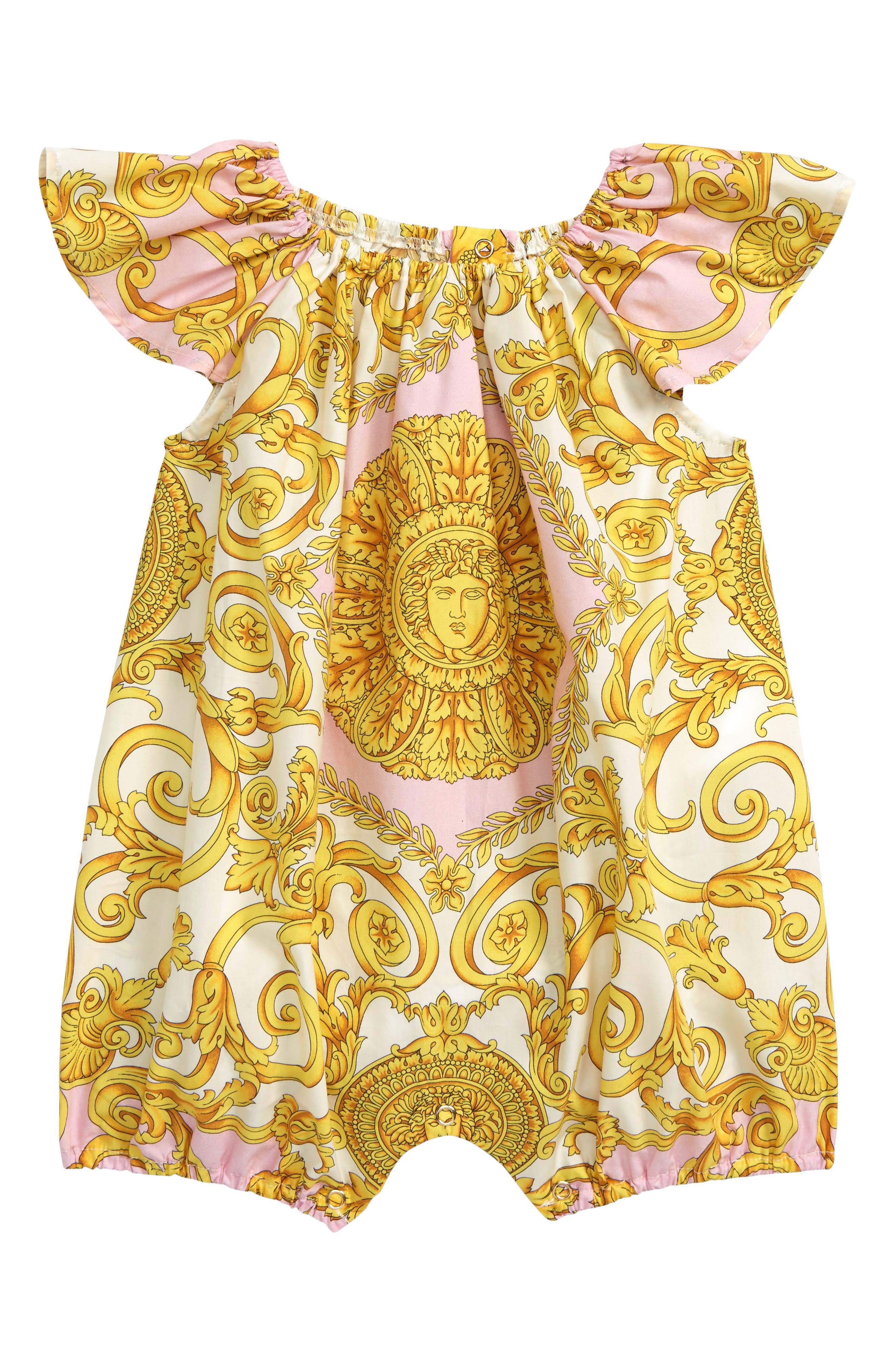 VERSACE, Barocco Print Romper, Main thumbnail 1, color, PINK/GOLD