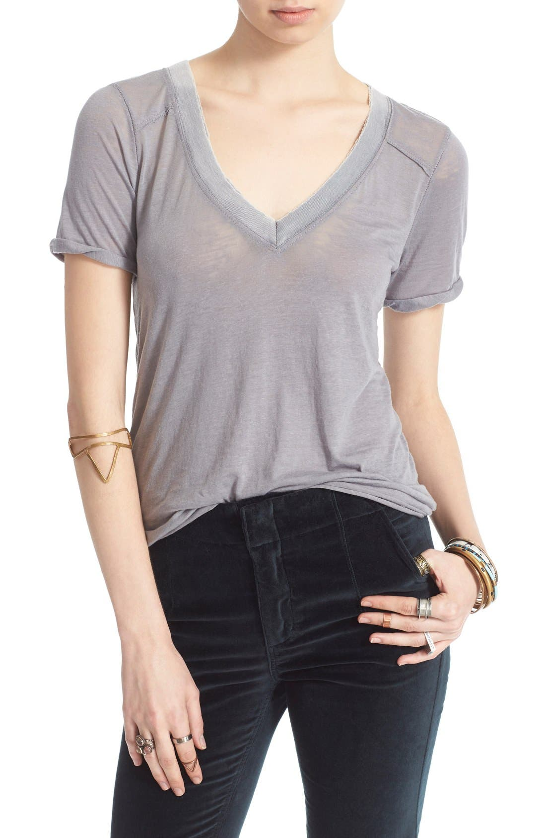 FREE PEOPLE, 'Pearls' Raw Edge V-Neck Tee, Main thumbnail 1, color, 030