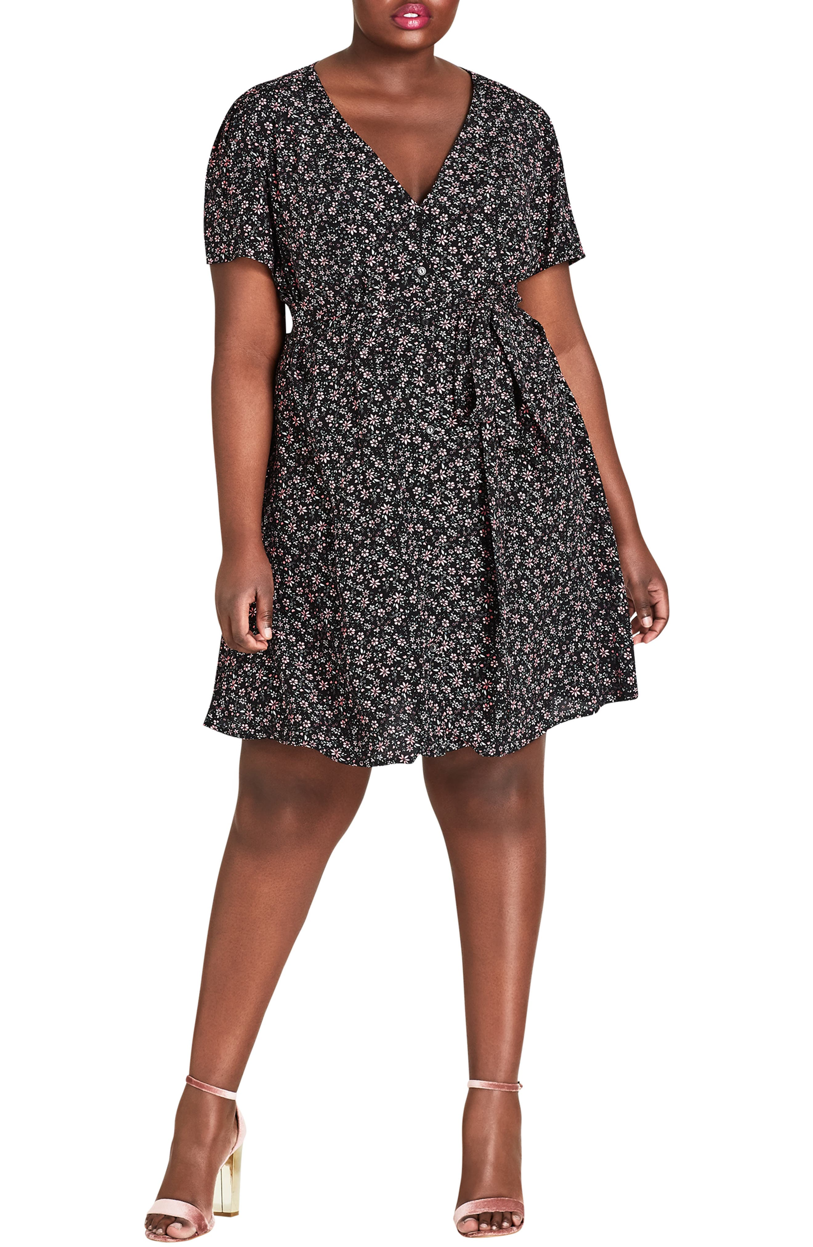 Plus Size City Chic Floral Ditsy Fit & Flare Dress