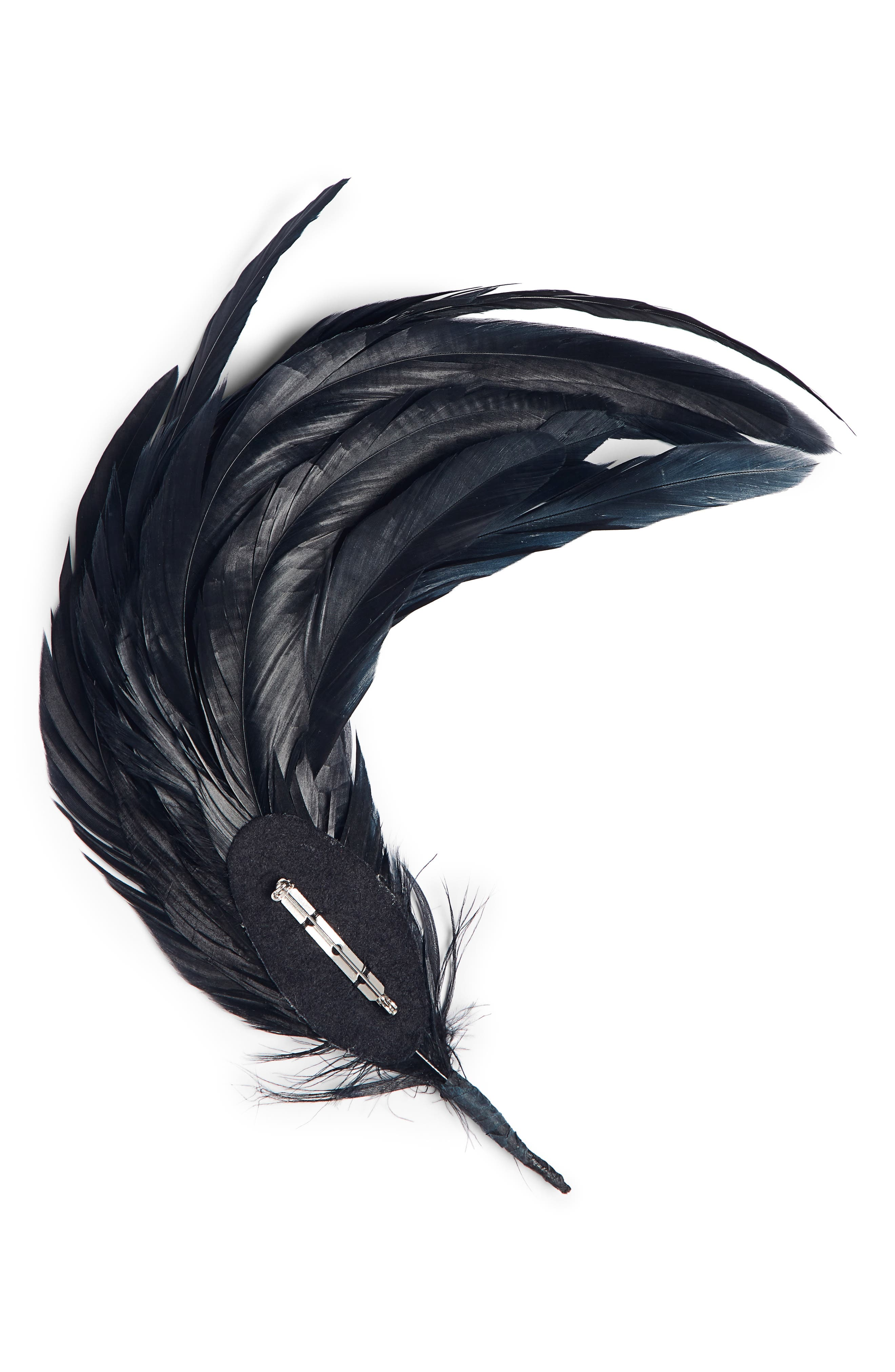 DRIES VAN NOTEN, Feather Brooch, Alternate thumbnail 2, color, BLACK