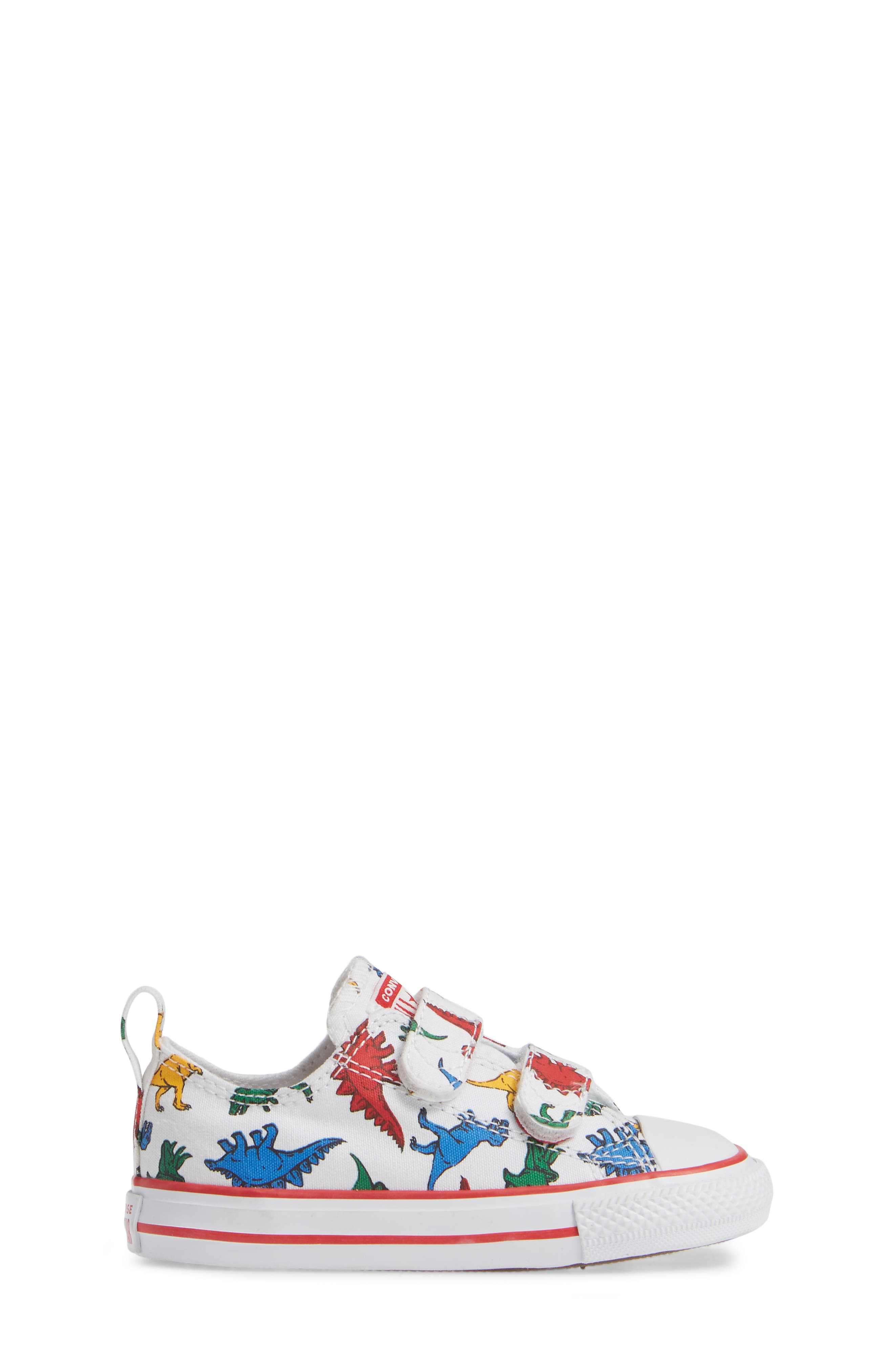 CONVERSE, Chuck Taylor<sup>®</sup> All Star<sup>®</sup> Ox Sneaker, Alternate thumbnail 3, color, WHITE/ ENAMEL RED/ BLUE DINO