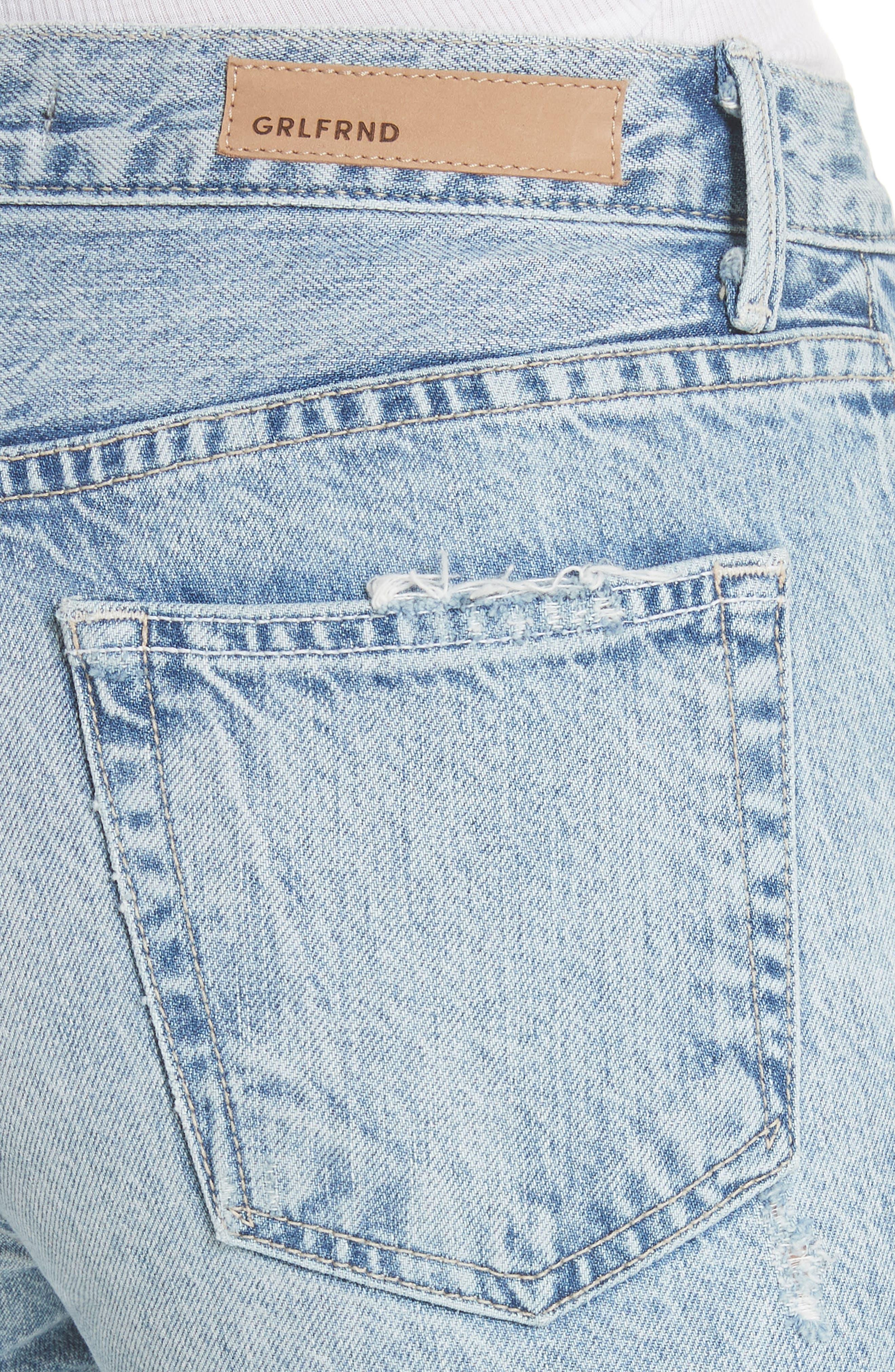 GRLFRND, Helena Frayed Hem High Waist Jeans, Alternate thumbnail 5, color, 401