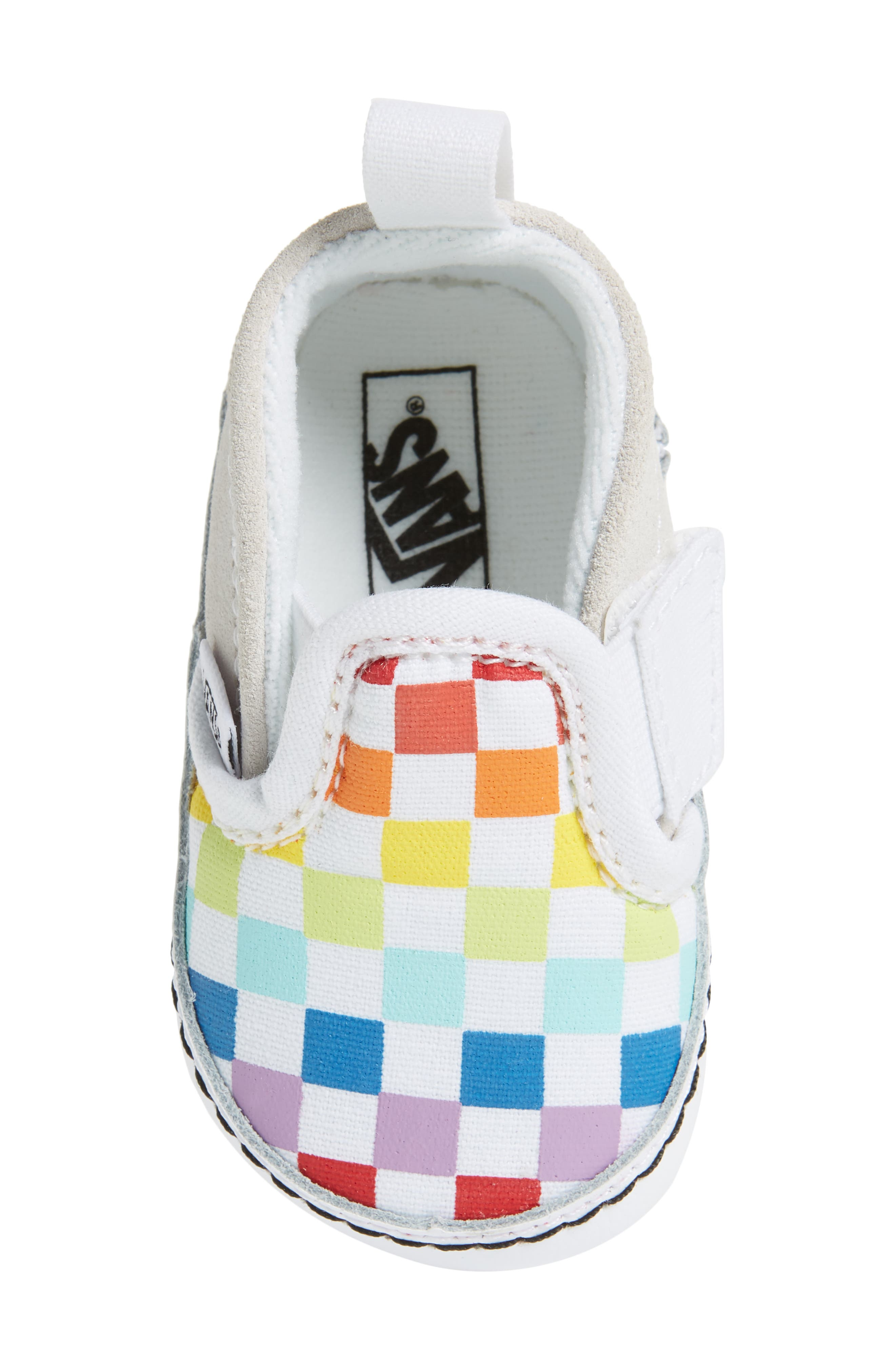 VANS, Slip-On Crib Shoe, Alternate thumbnail 5, color, CHECKERBOARD RAINBOW/ WHITE