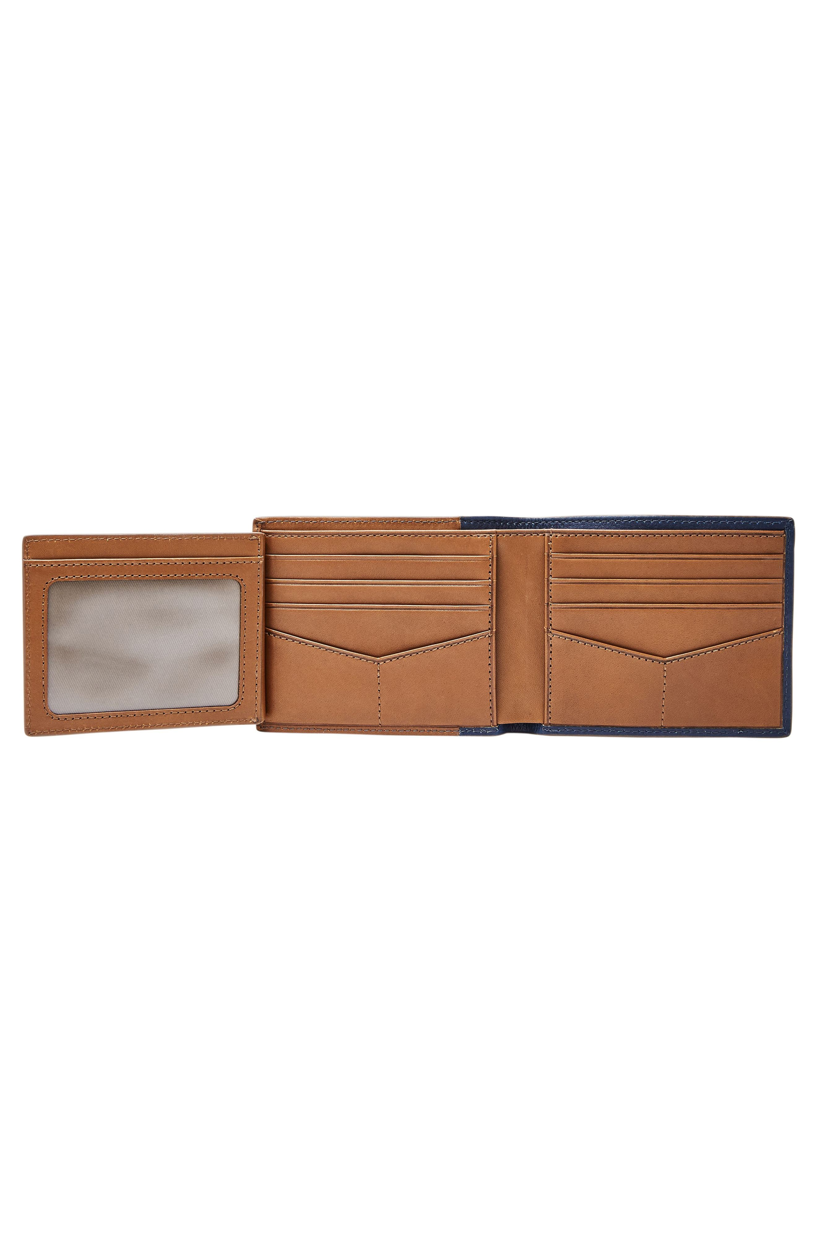 FOSSIL, Ward Leather Wallet, Alternate thumbnail 2, color, NAVY