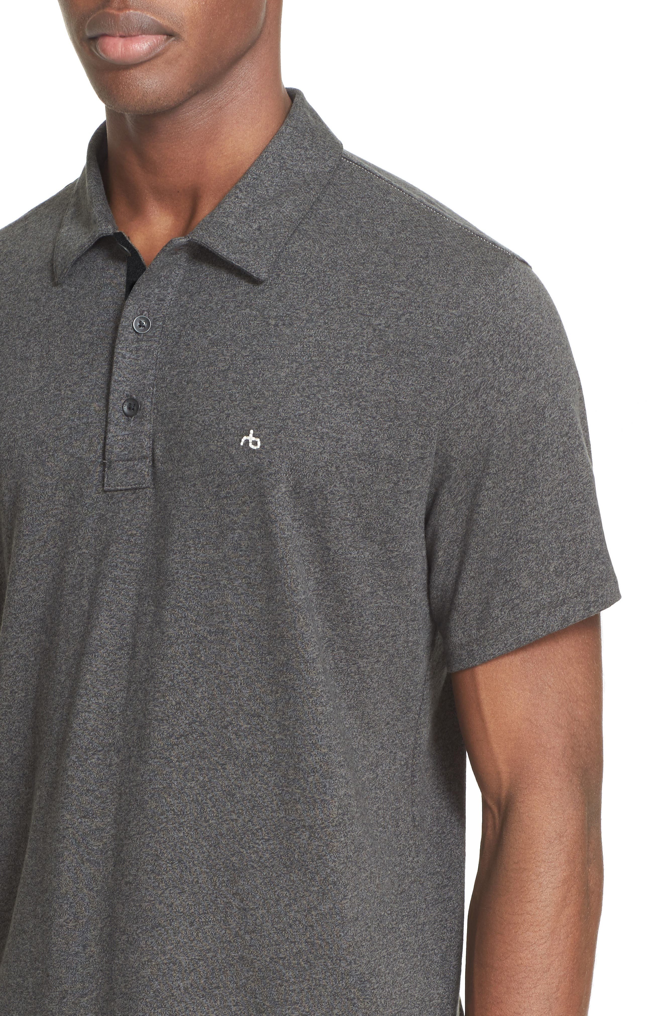 RAG & BONE, Standard Issue Regular Fit Slub Cotton Polo, Alternate thumbnail 2, color, PEWTER