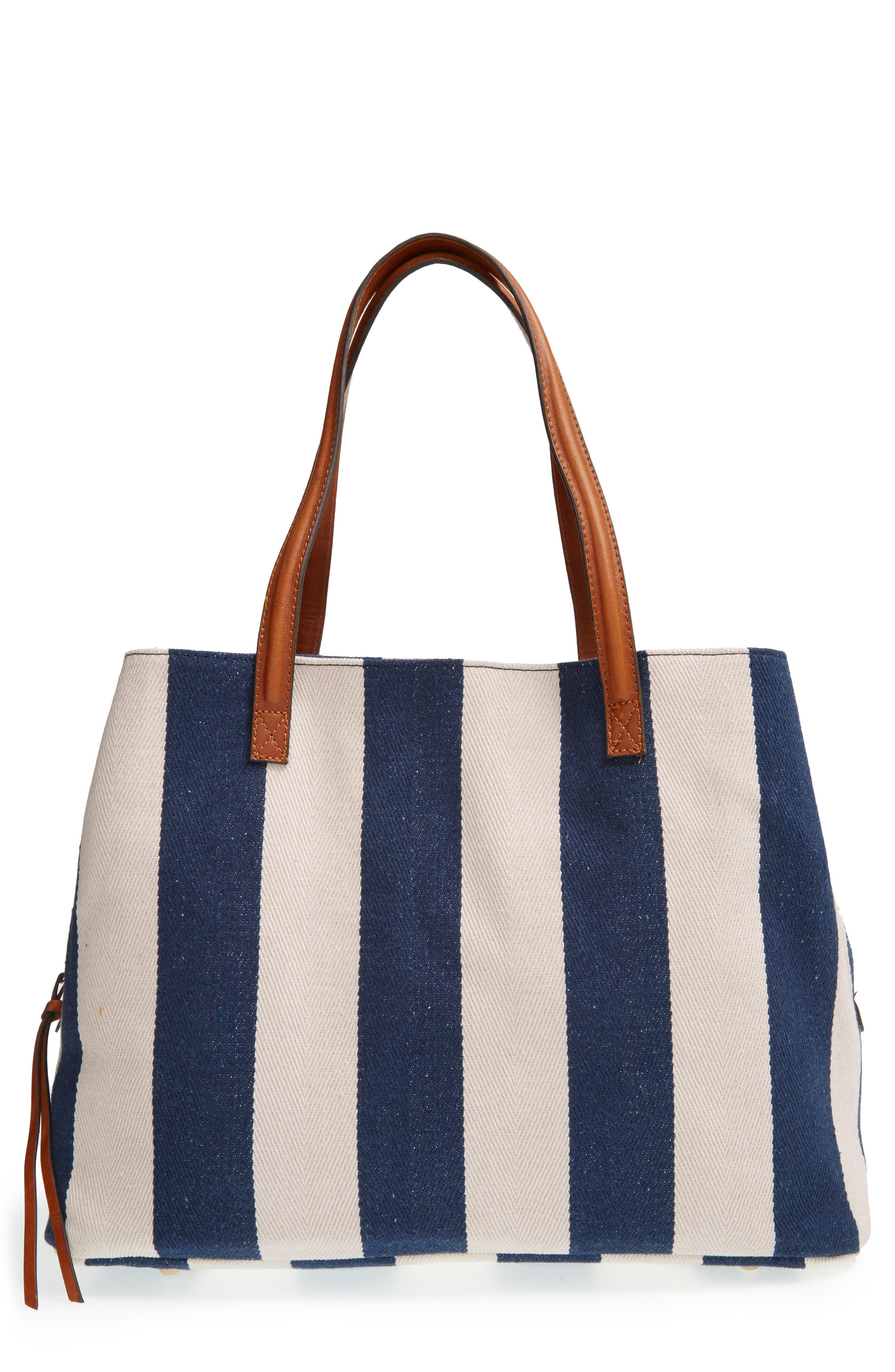SOLE SOCIETY, 'Oversize Millie' Stripe Print Tote, Main thumbnail 1, color, NAVY CREAM
