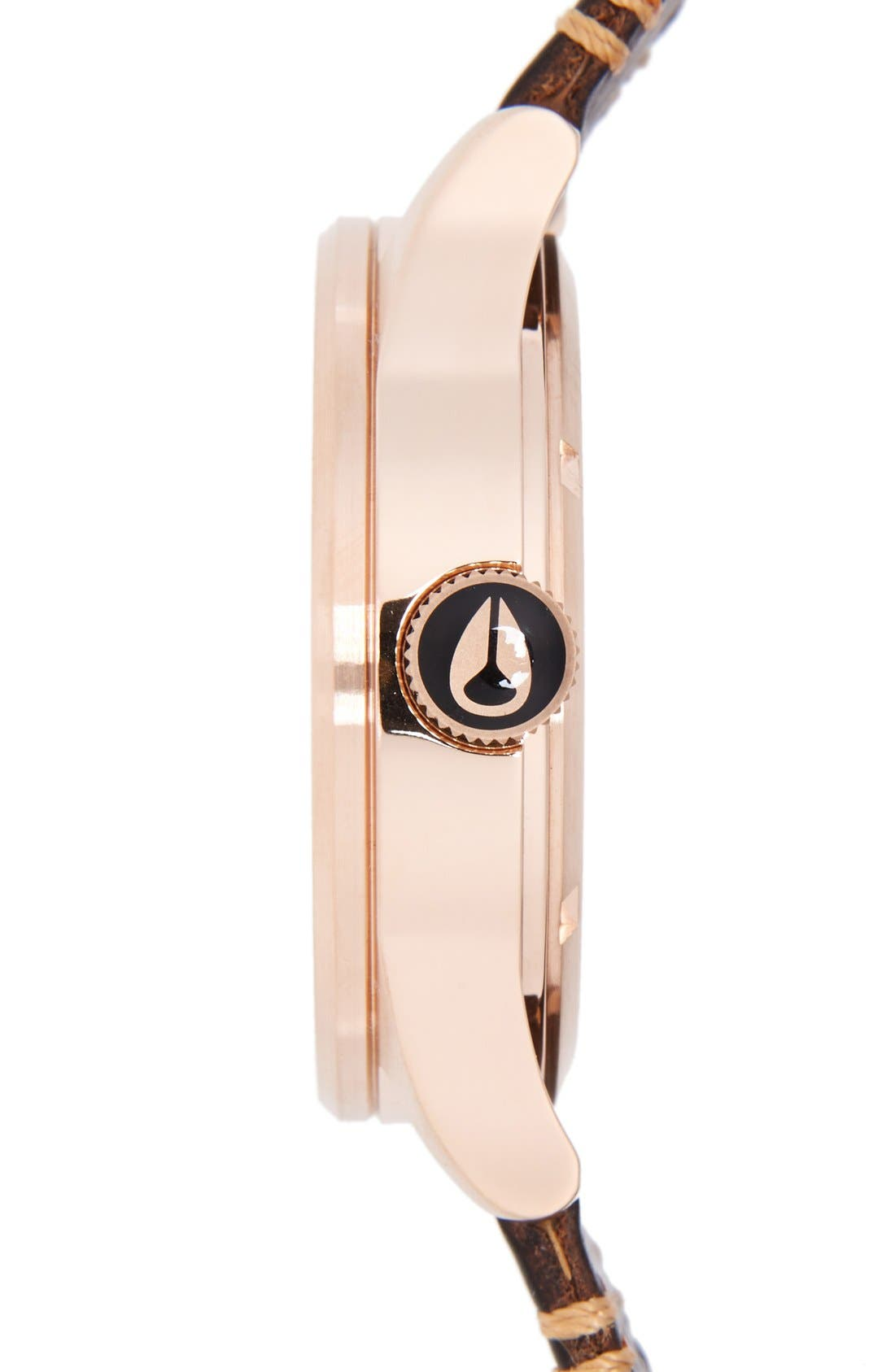 NIXON, 'The Sentry' Leather Strap Watch, 42mm, Alternate thumbnail 4, color, BROWN/ ROSE GOLD/ GUNMETAL