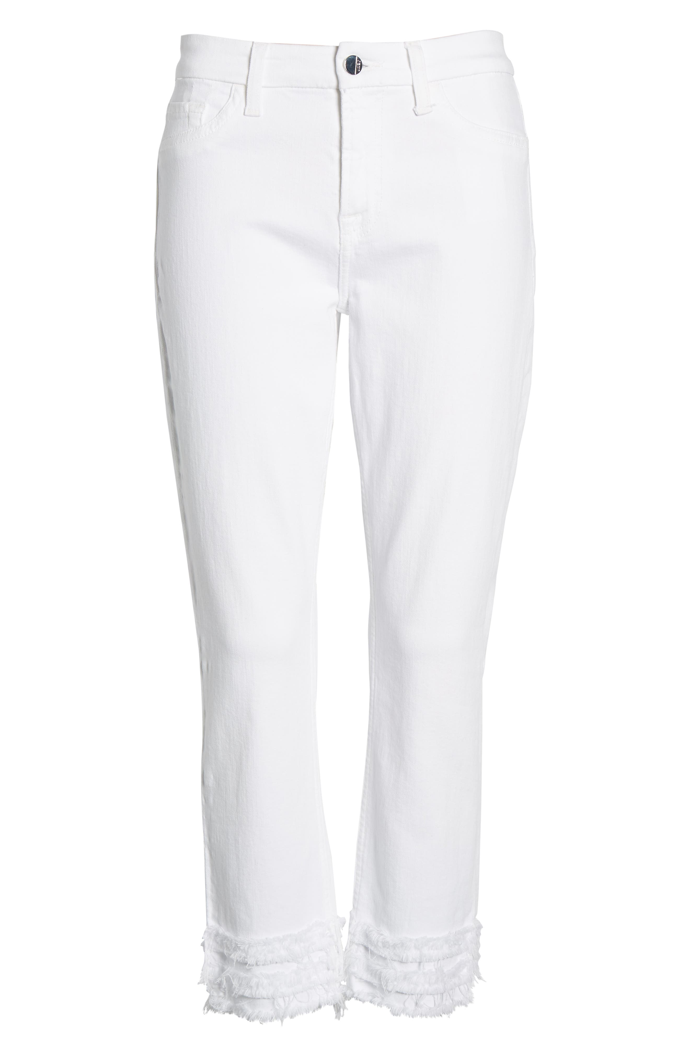 JEN7 BY 7 FOR ALL MANKIND, Fringe Hem Crop Jeans, Alternate thumbnail 7, color, WHITE FASHION