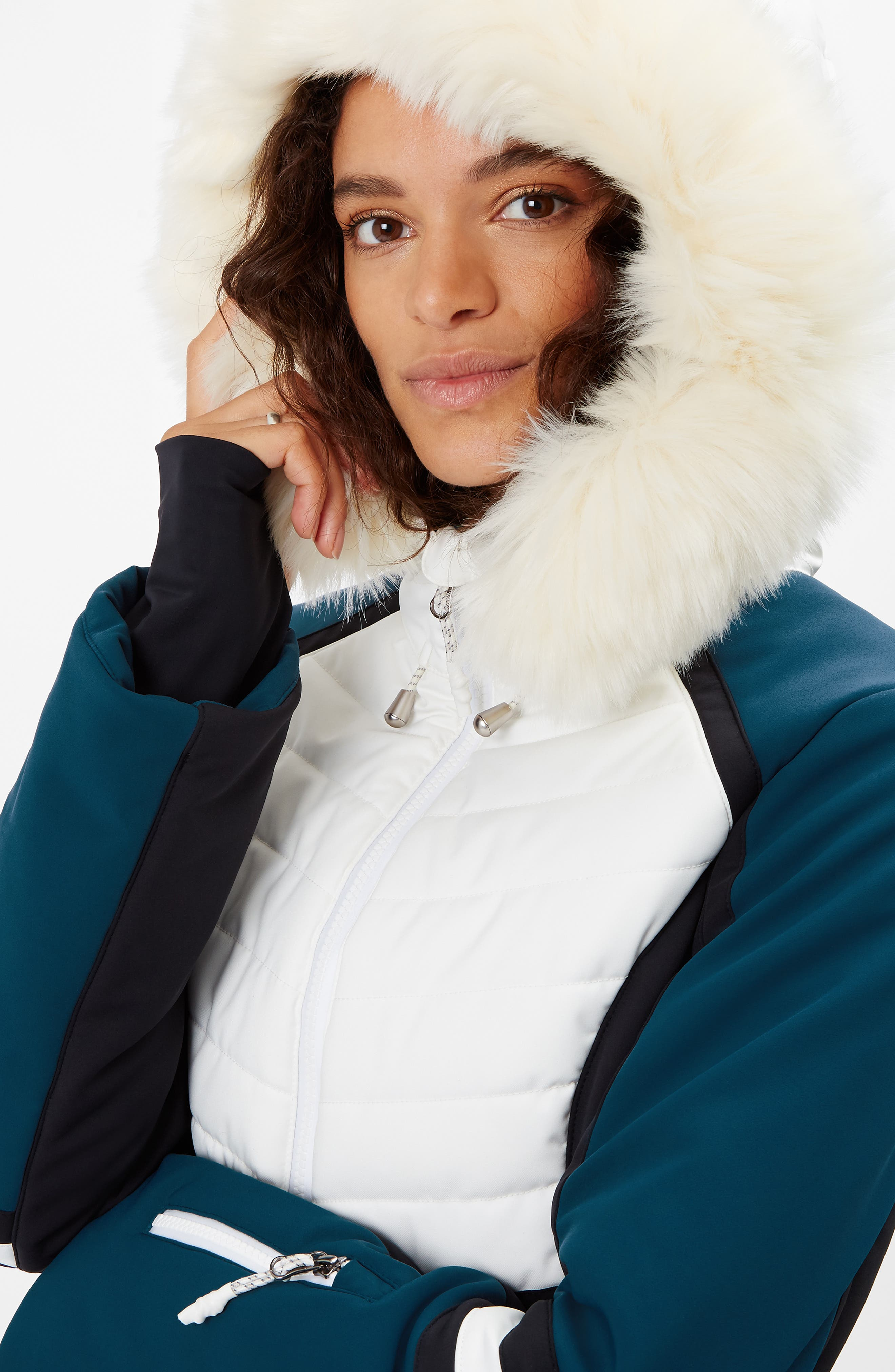 SWEATY BETTY, Method Hybrid Waterproof Ski Jacket with Faux Fur, Alternate thumbnail 8, color, BEETLE BLUE COLOUR BLOCK