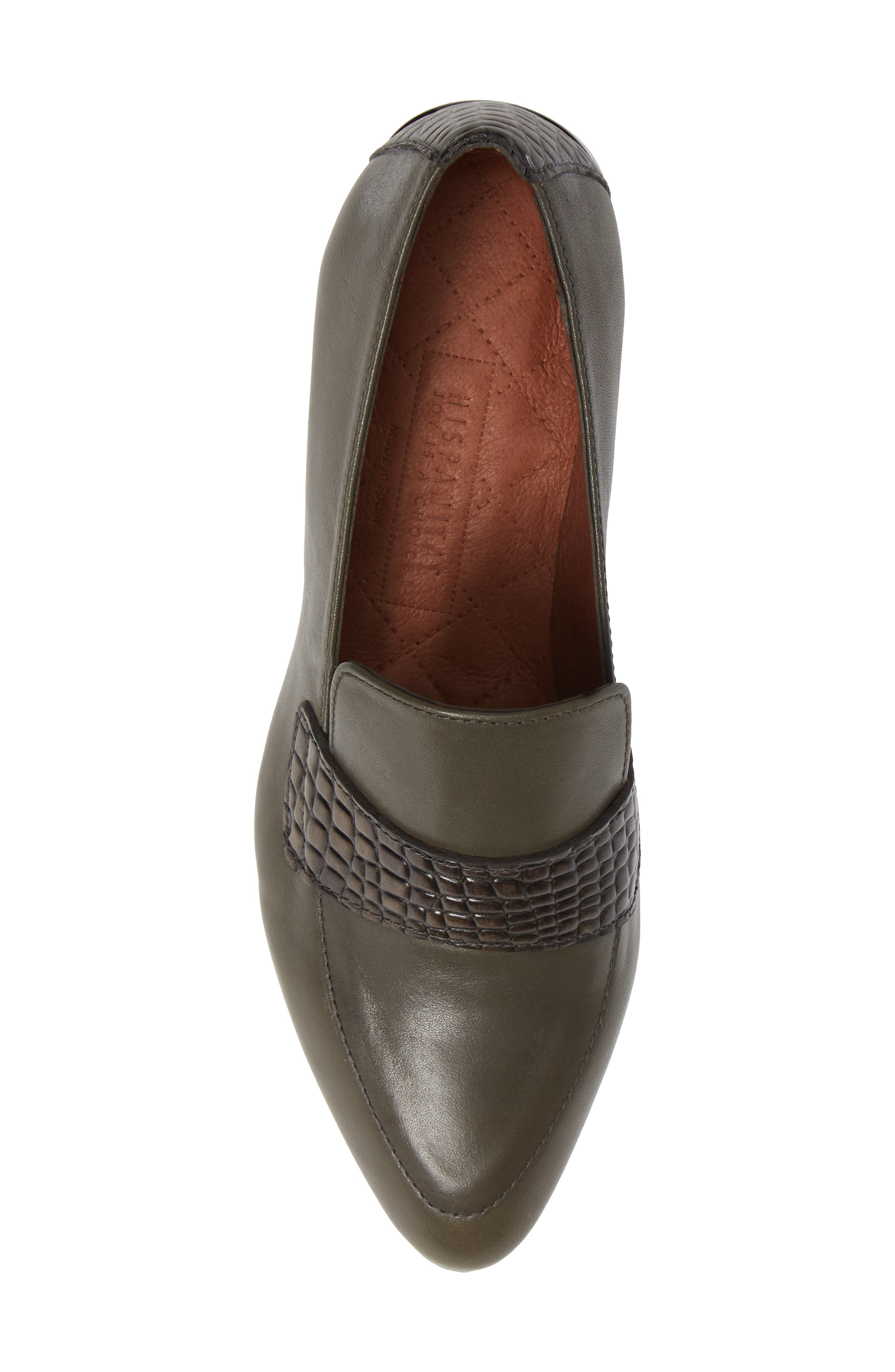 HISPANITAS, Gabrianna Block Heel Loafer, Alternate thumbnail 5, color, SOHO ARMY/ CAIMAN ARMY LEATHER