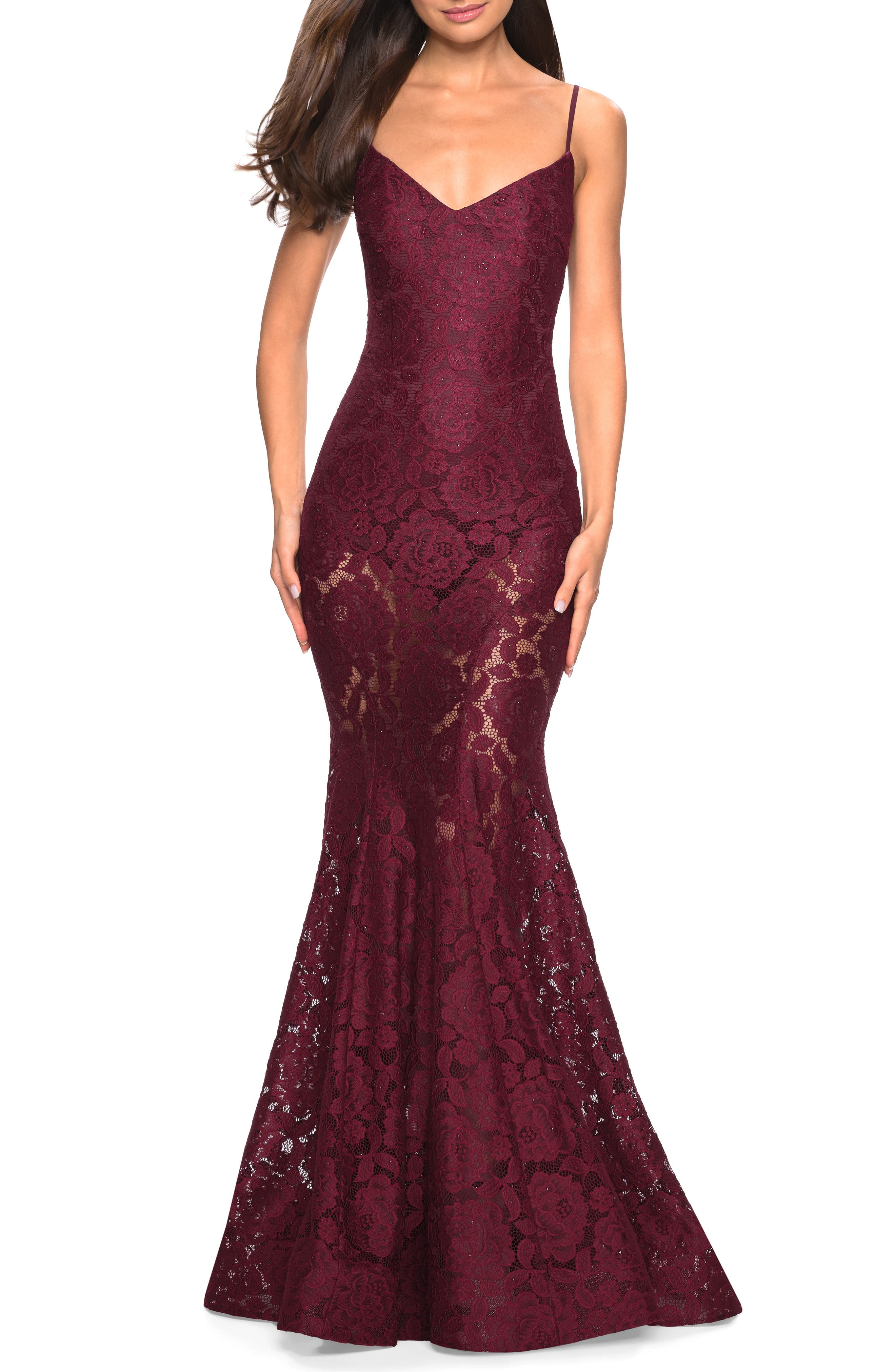 La Femme Stretch Lace Mermaid Evening Dress, Burgundy