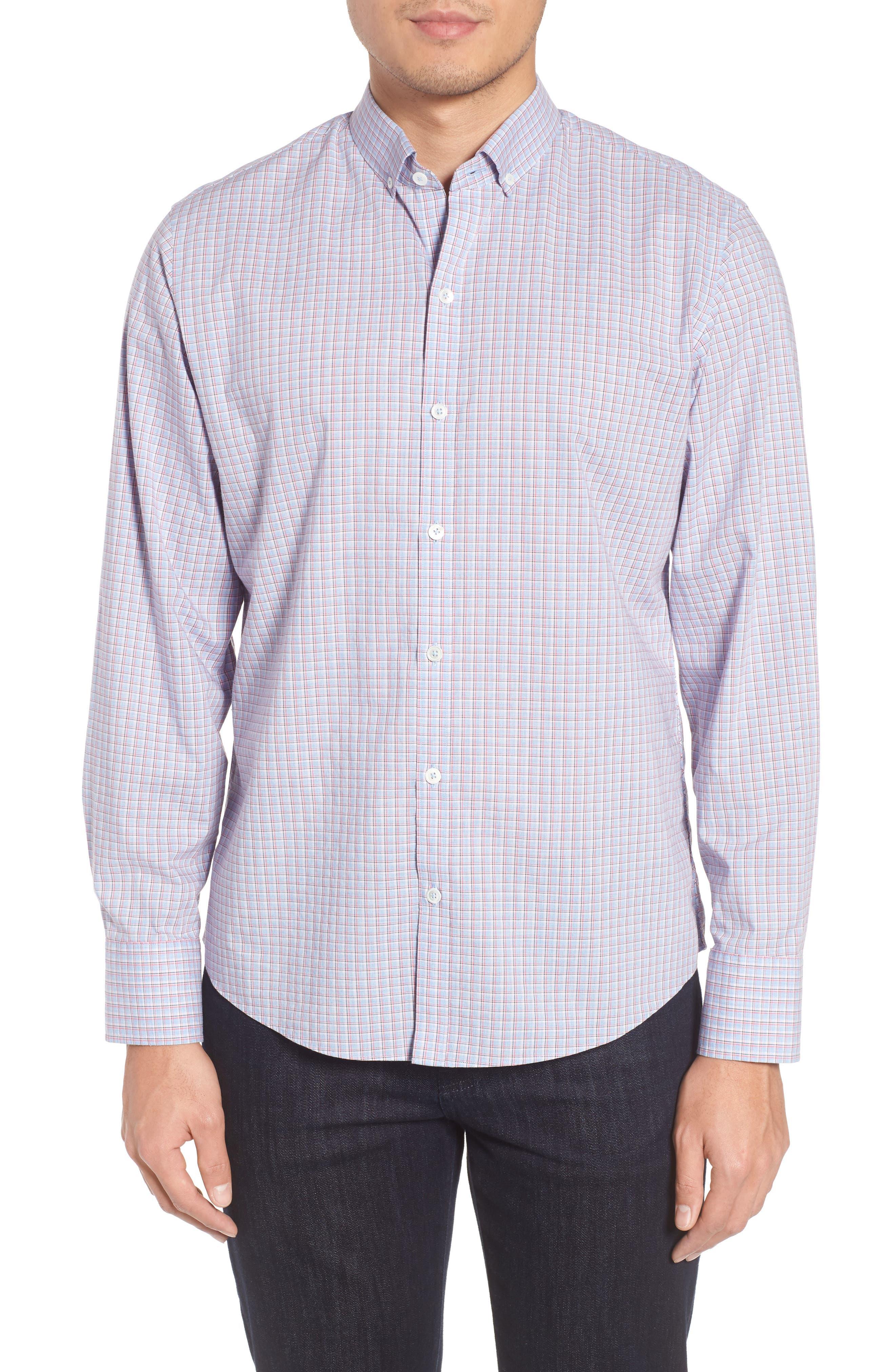 ZACHARY PRELL, Drozdov Regular Fit Plaid Sport Shirt, Main thumbnail 1, color, PINK