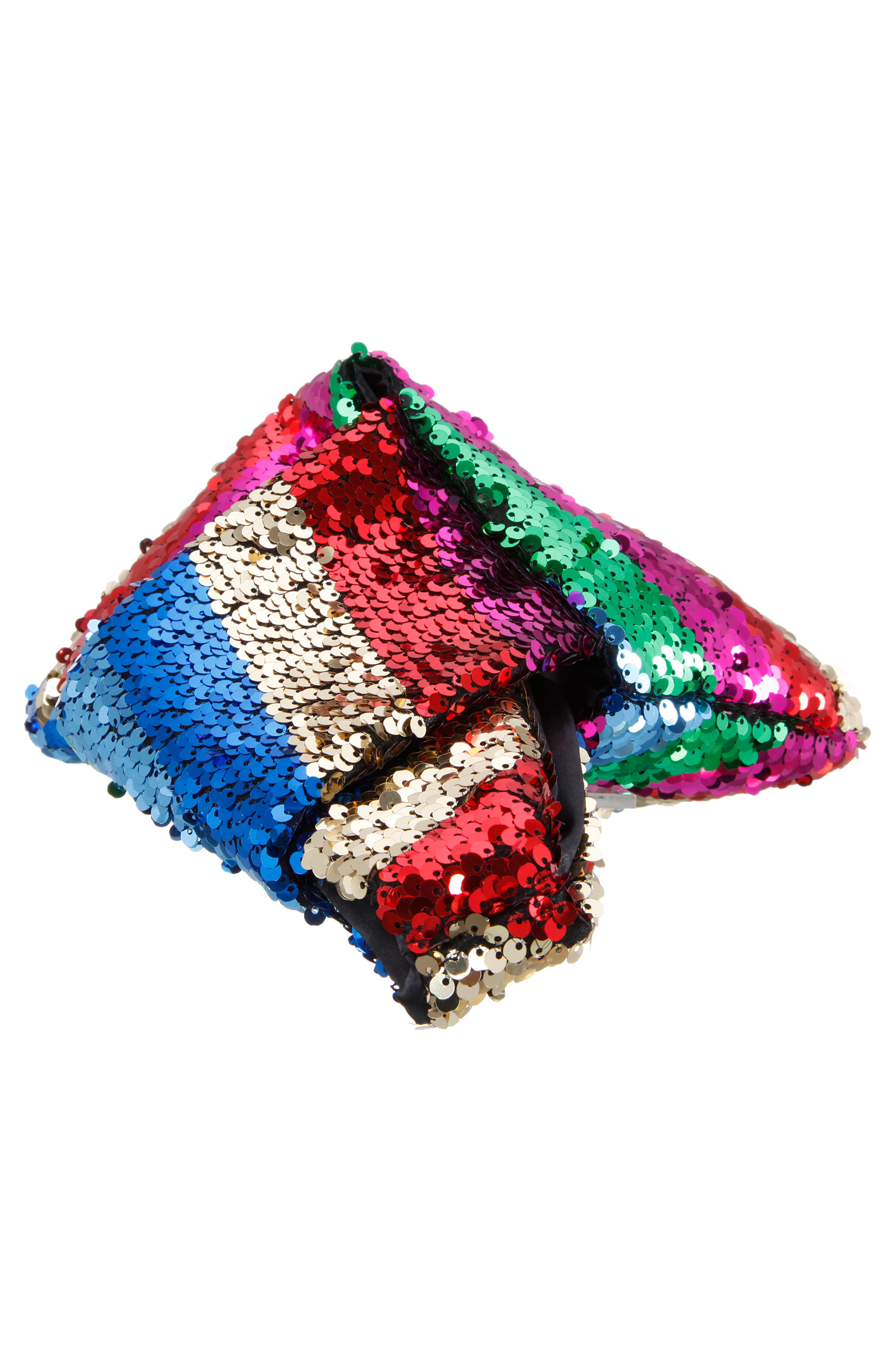 NINA, Fortune Cookie Embellished Pouch, Alternate thumbnail 5, color, RAINBOW