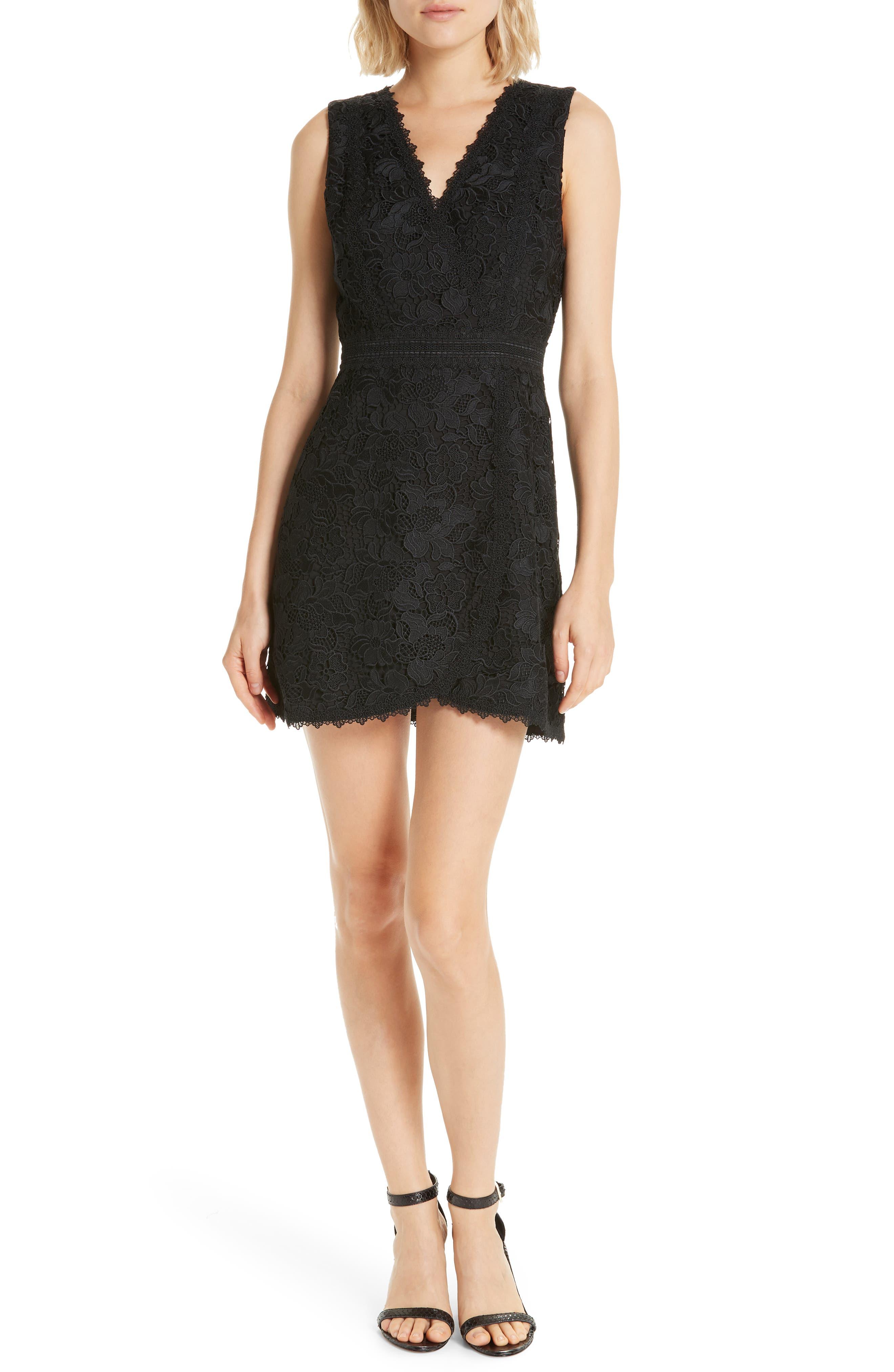 ALICE + OLIVIA, Lennon Lace Mini Dress, Main thumbnail 1, color, 001