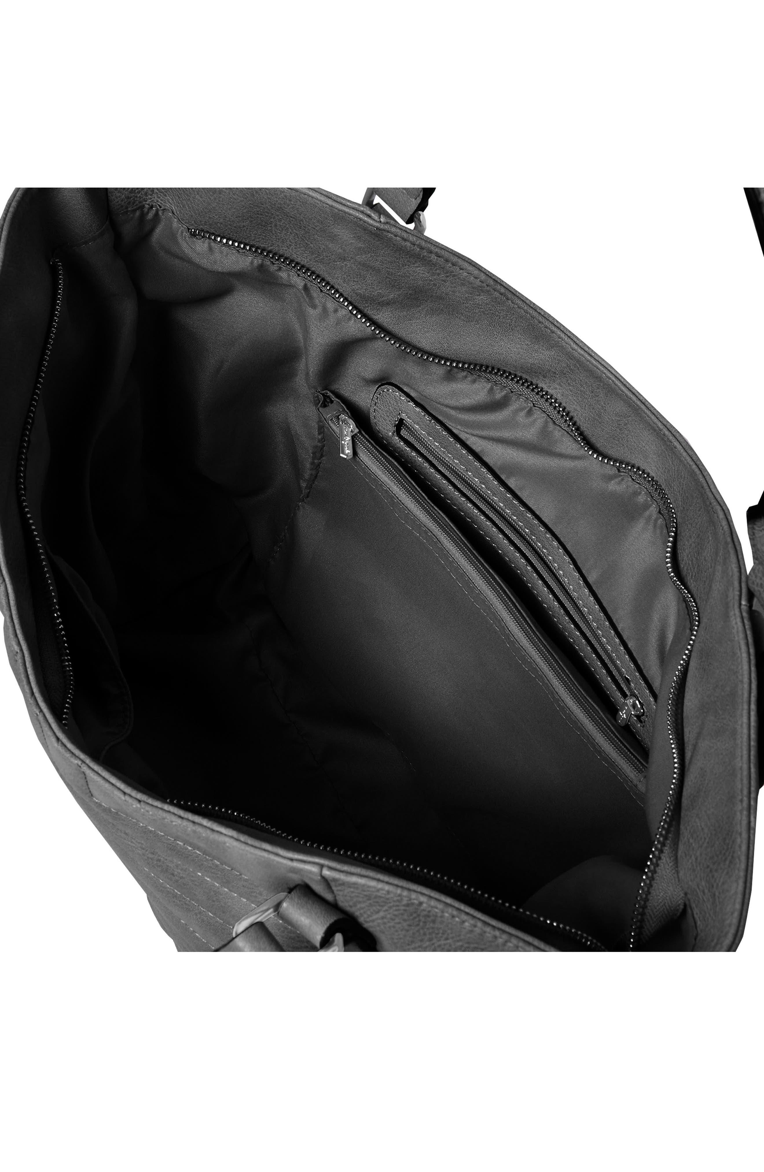 URBAN ORIGINALS, Iconic Vegan Leather Tote, Alternate thumbnail 3, color, BLACK