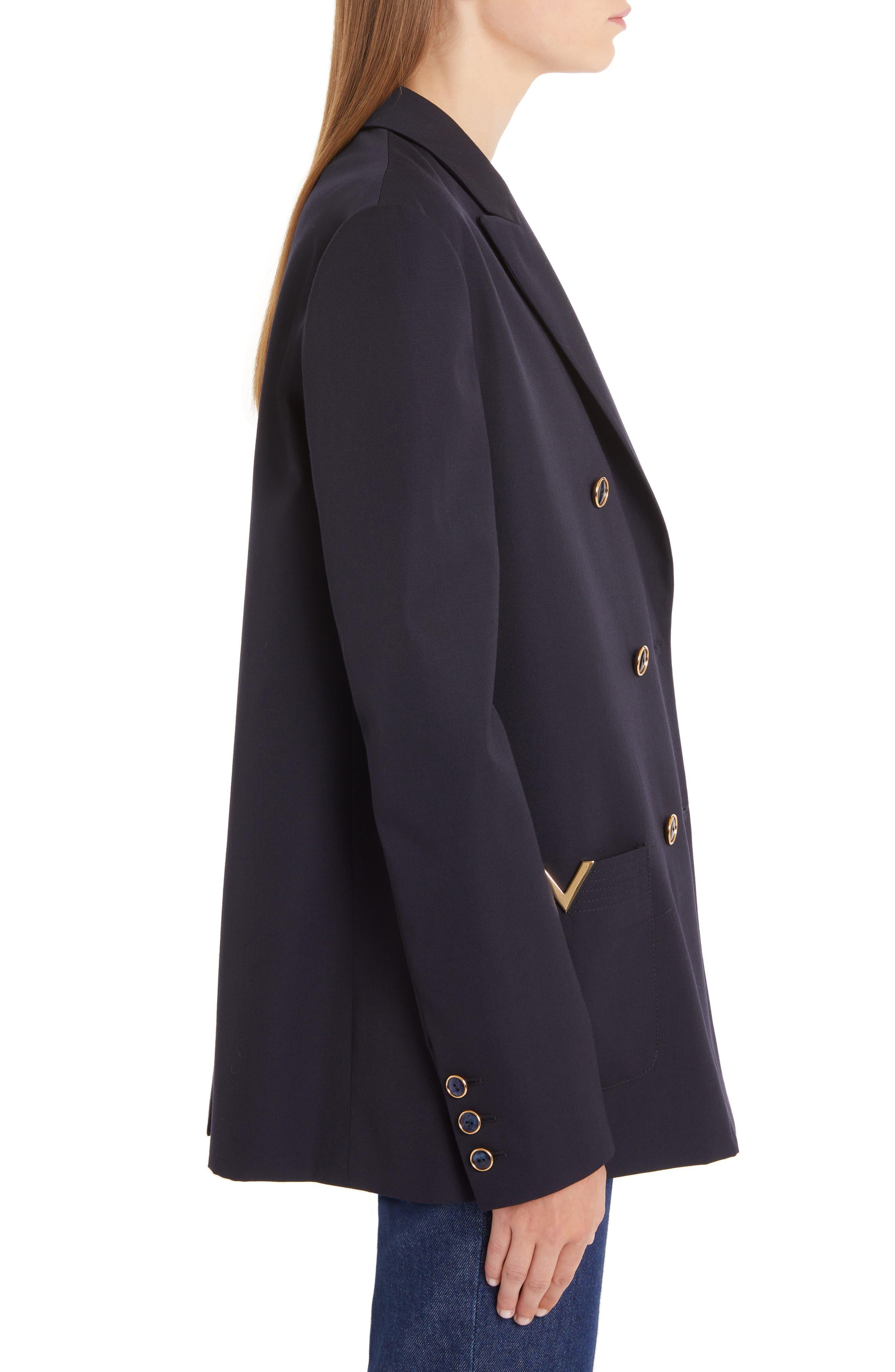 VALENTINO, V-Detail Wool Gabardine Jacket, Alternate thumbnail 3, color, NAVY