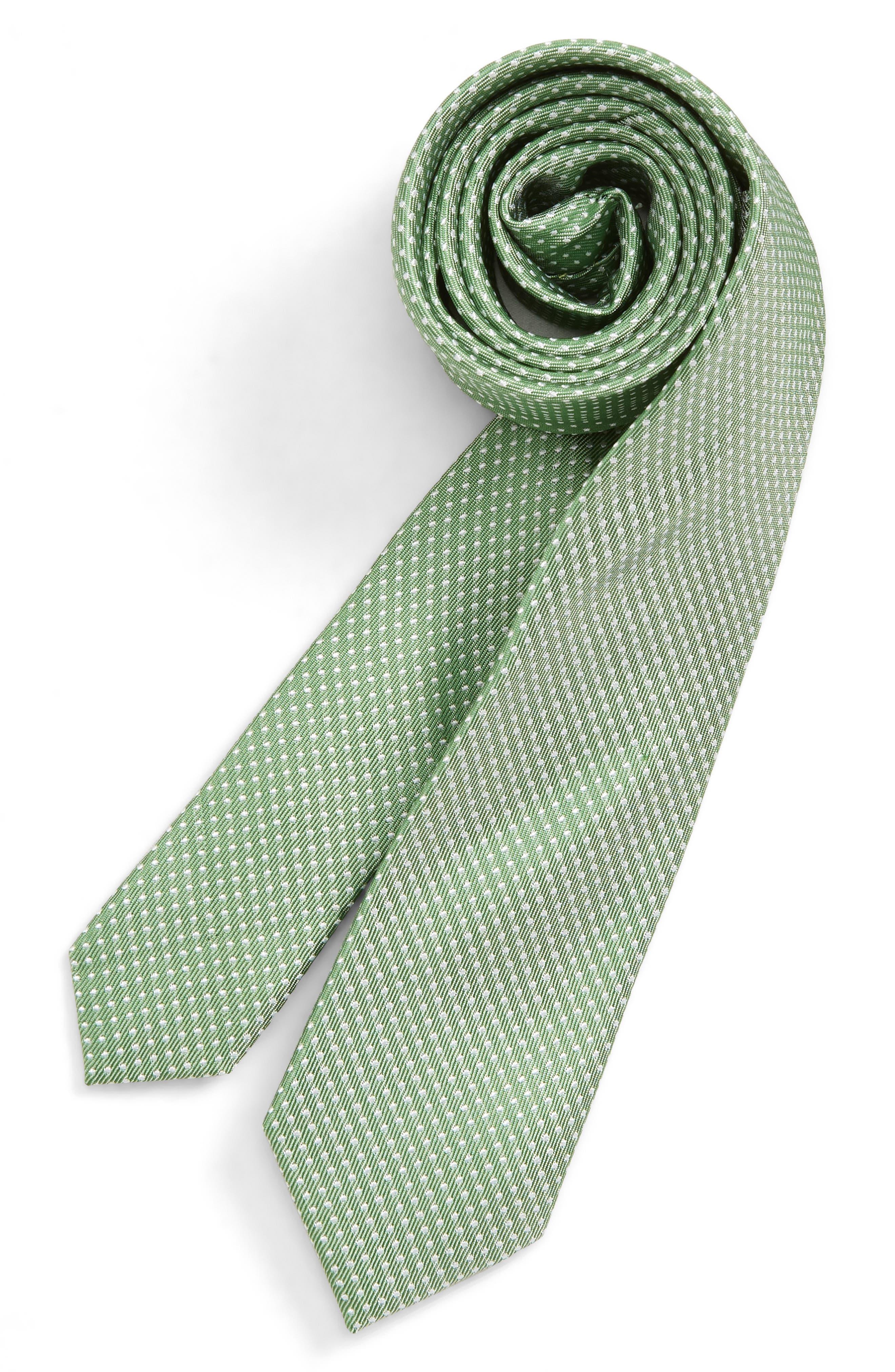 NORDSTROM, Dakota Dot Silk Tie, Main thumbnail 1, color, GREEN