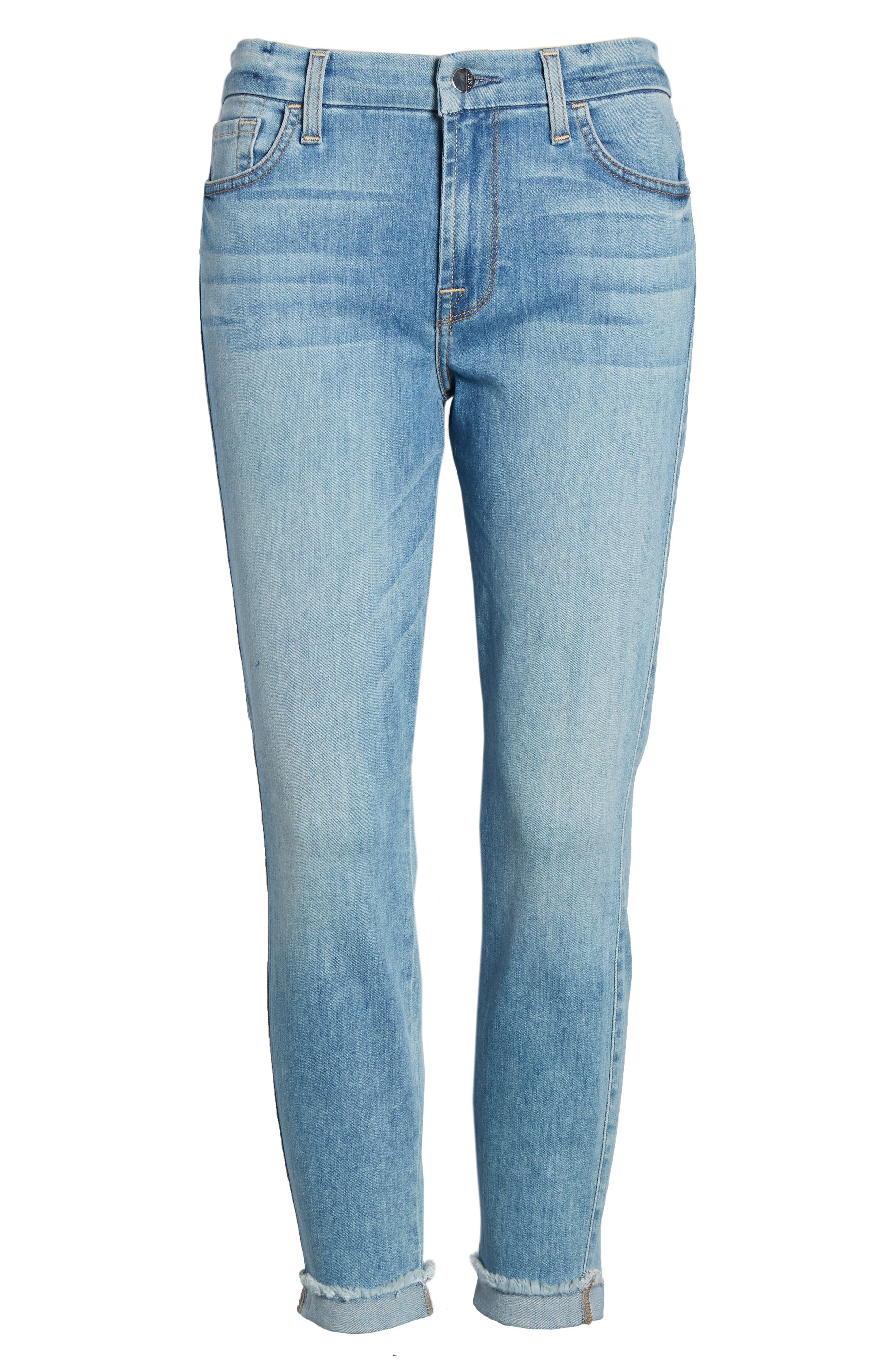 JEN7 BY 7 FOR ALL MANKIND, Cuffed Crop Skinny Jeans, Alternate thumbnail 7, color, LA QUINTA