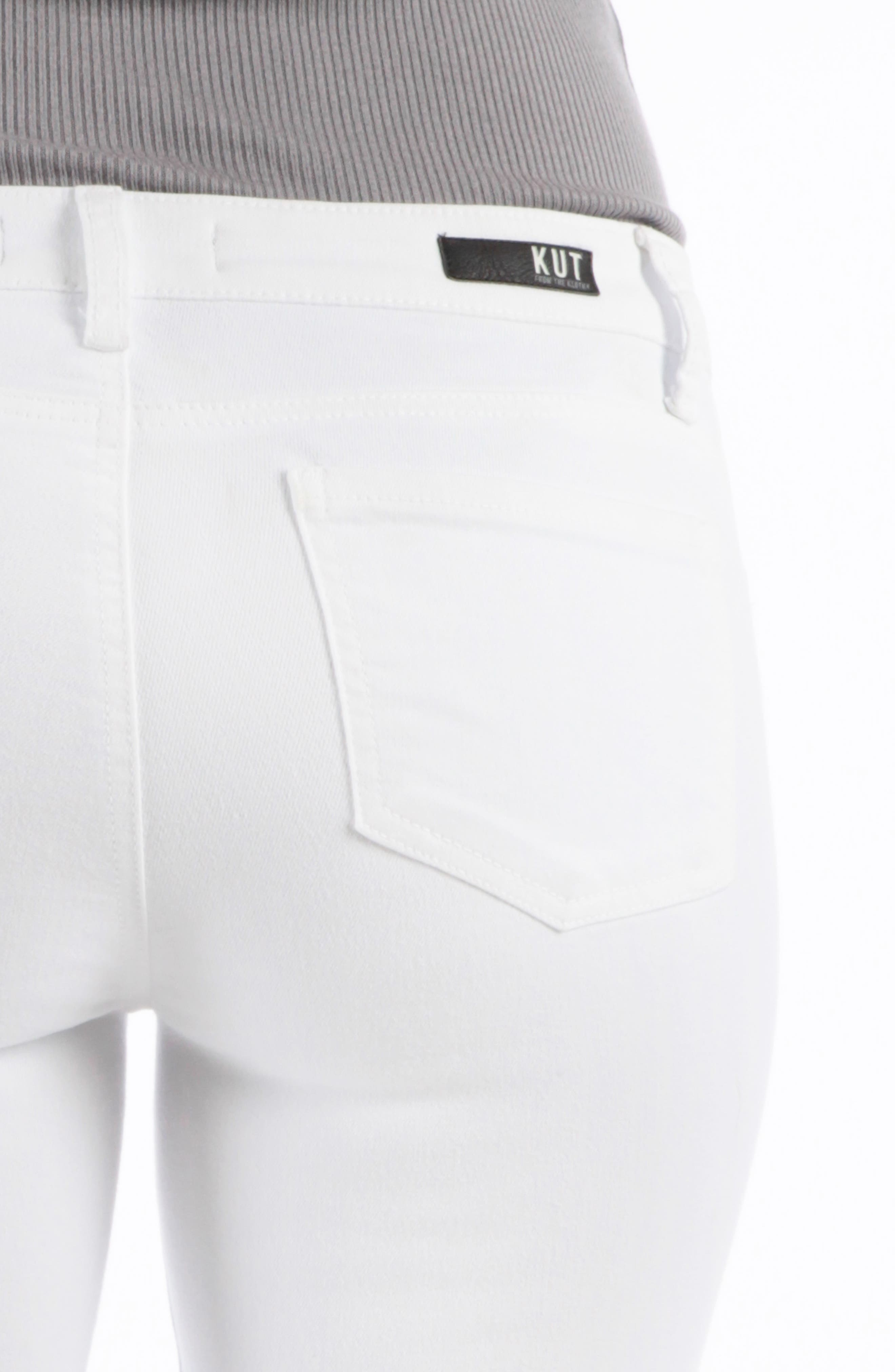 KUT FROM THE KLOTH, Connie Ankle Skinny Jeans, Alternate thumbnail 4, color, OPTIC WHITE