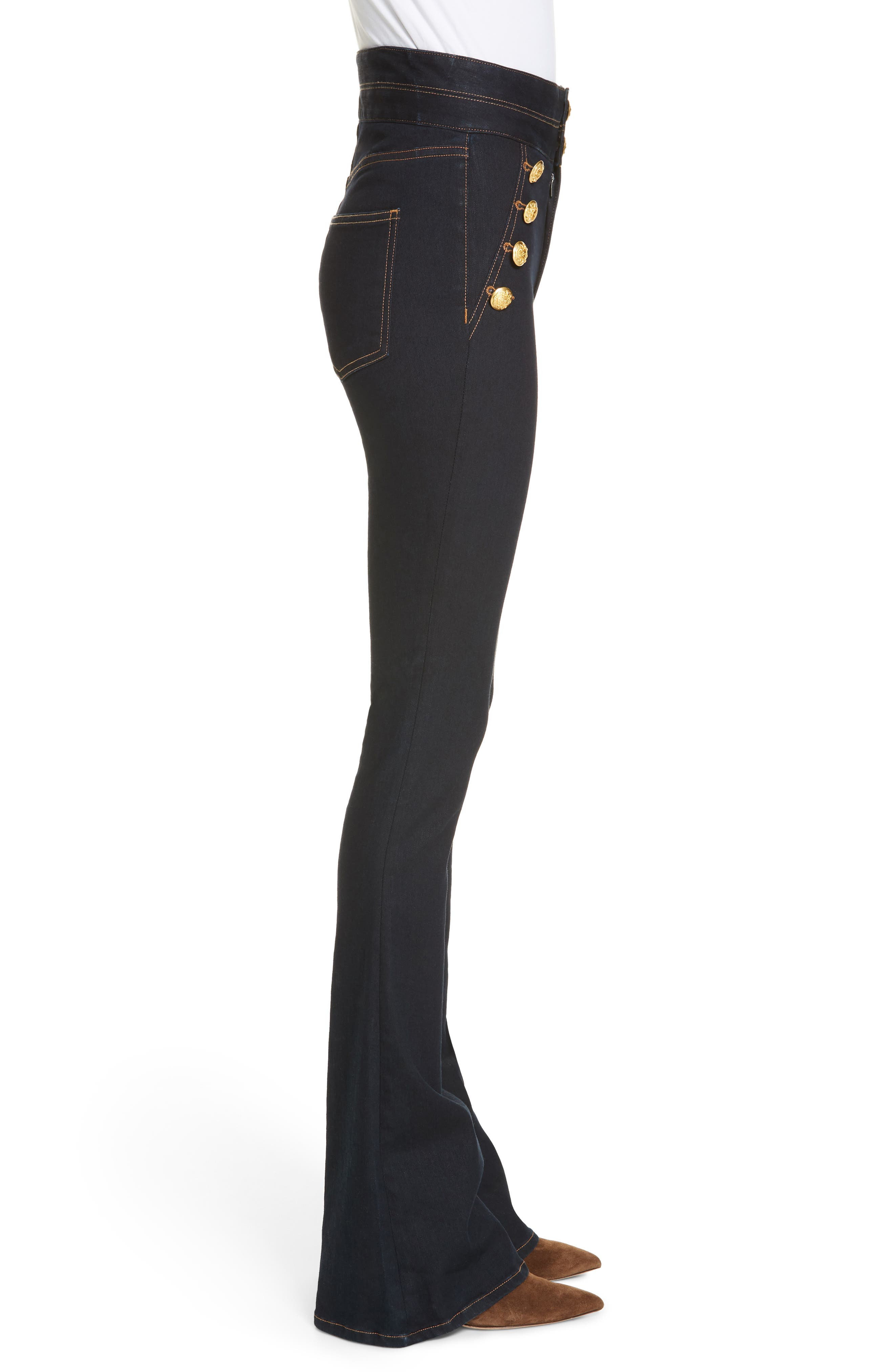 VERONICA BEARD, Dalida Button Detail Skinny Flare Jeans, Alternate thumbnail 3, color, INDIGO