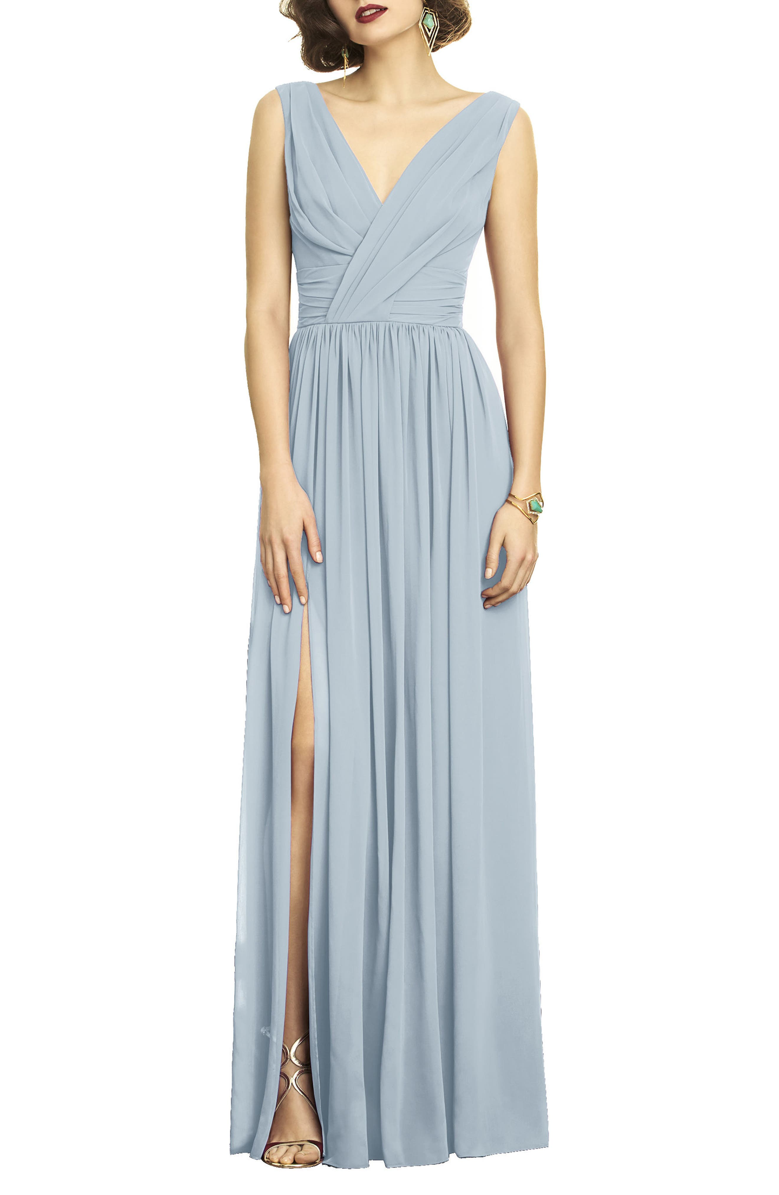 Dessy Collection Lux V-Neck Chiffon Gown, Blue