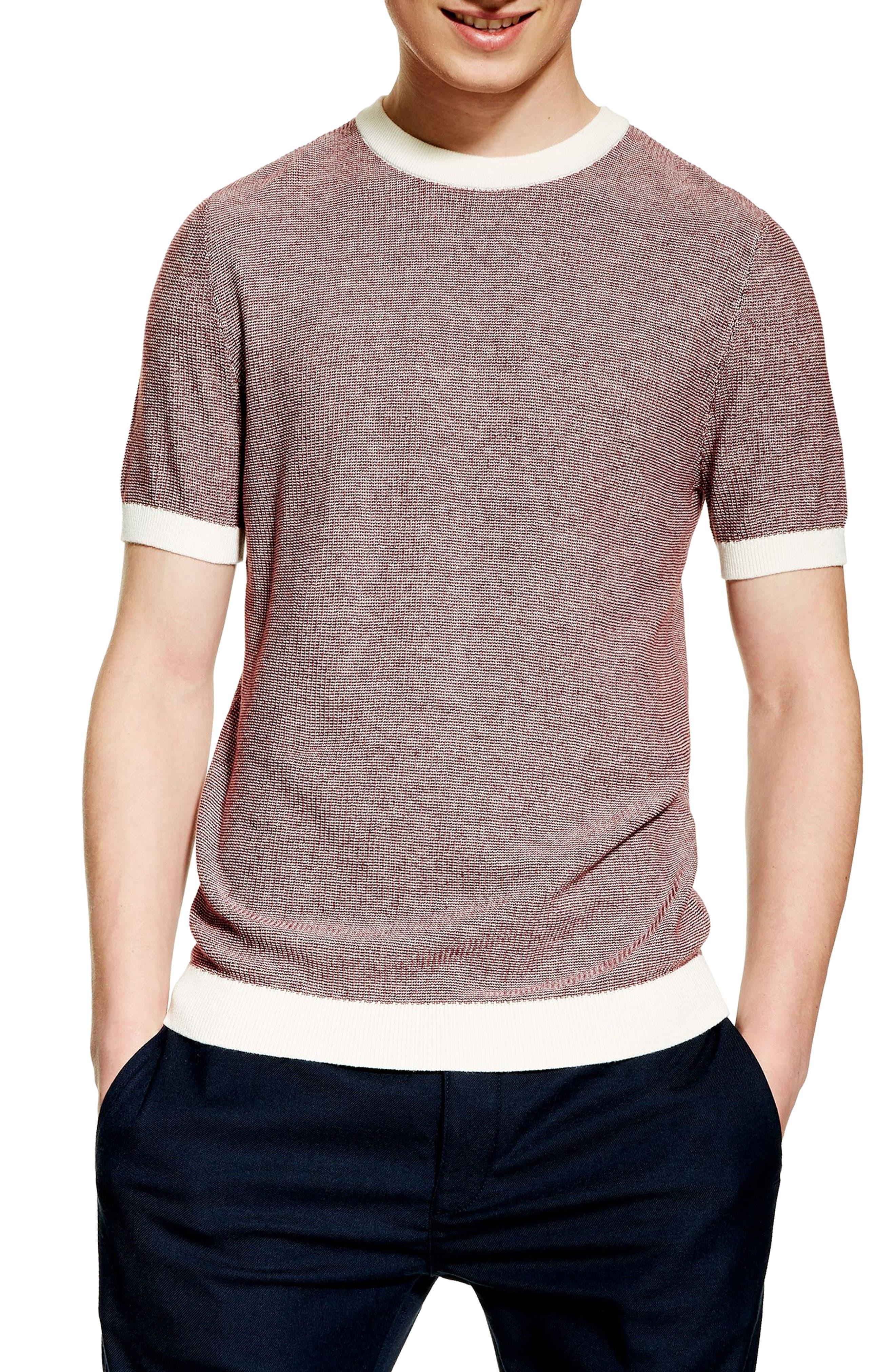 1930s Mens Shirts | Dress Shirts, Polo Shirts, Work Shirts Mens Topman Short Sleeve Sweater T-Shirt Size X-Small - Burgundy $45.00 AT vintagedancer.com