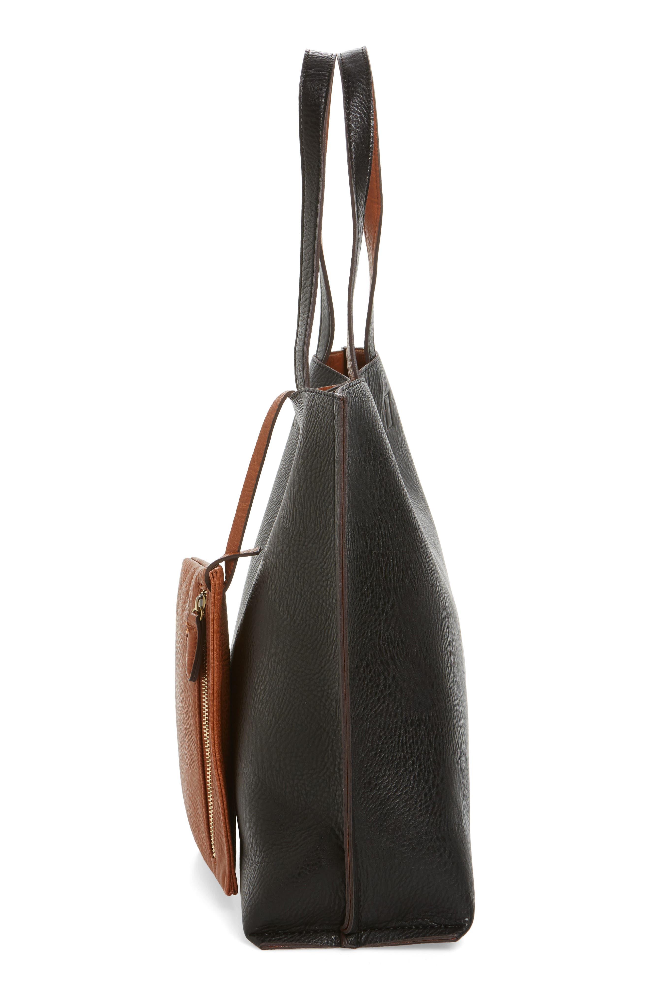 STREET LEVEL, Reversible Faux Leather Tote & Wristlet, Alternate thumbnail 6, color, BLACK/ COGNAC