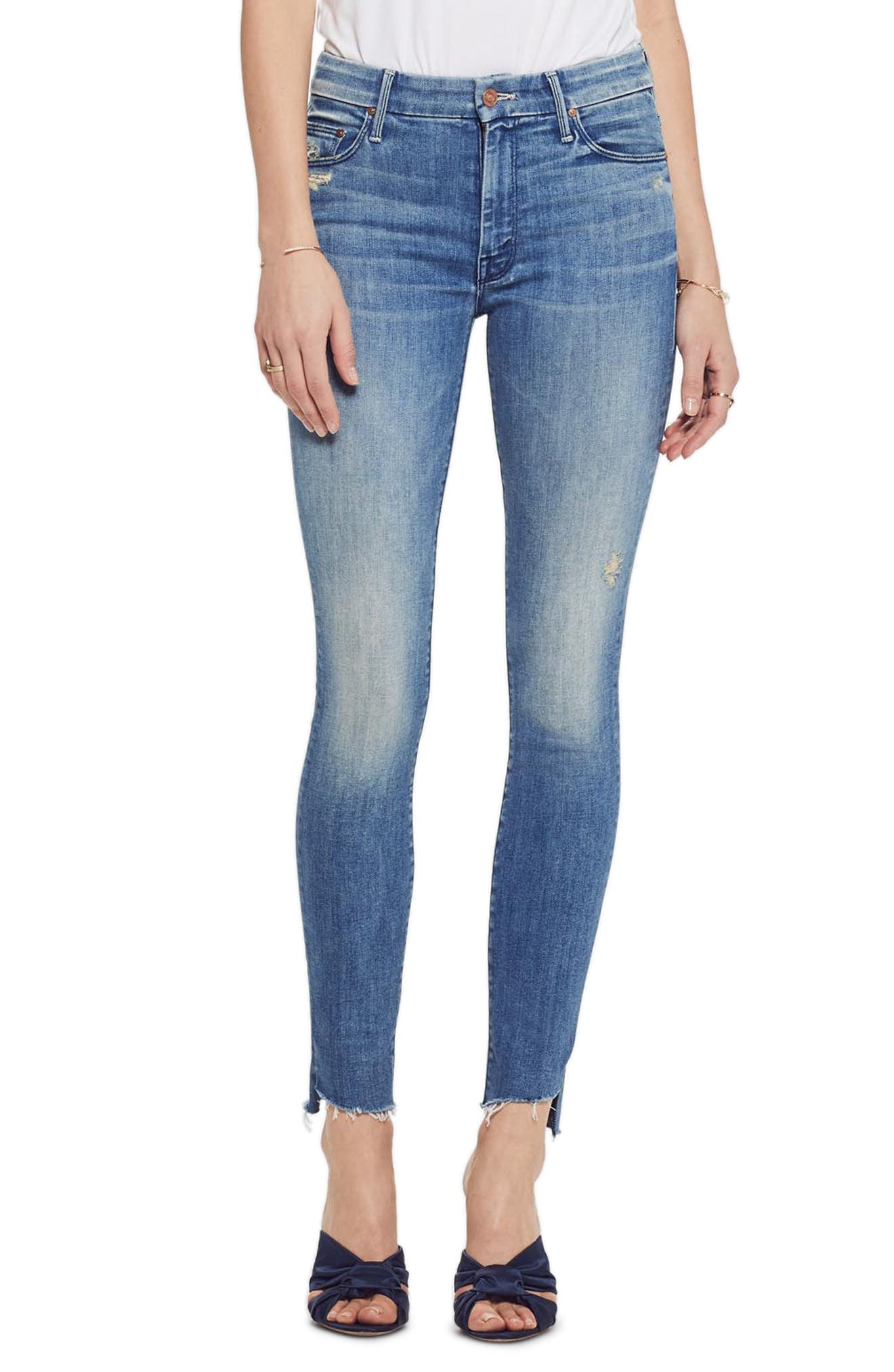 MOTHER, The Looker Frayed Step Hem Ankle Skinny Jeans, Main thumbnail 1, color, WHERE THERES SMOKE
