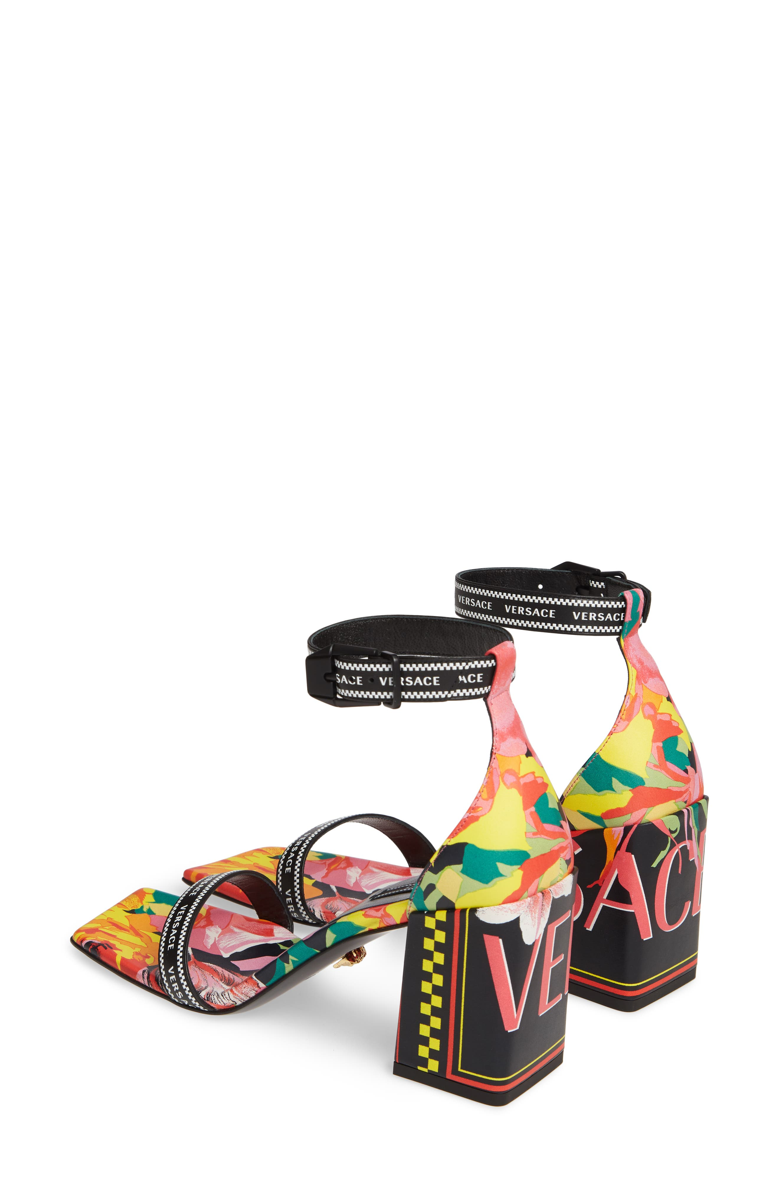 VERSACE FIRST LINE, Floral Logo Ankle Strap Sandal, Alternate thumbnail 3, color, BLACK PRINT