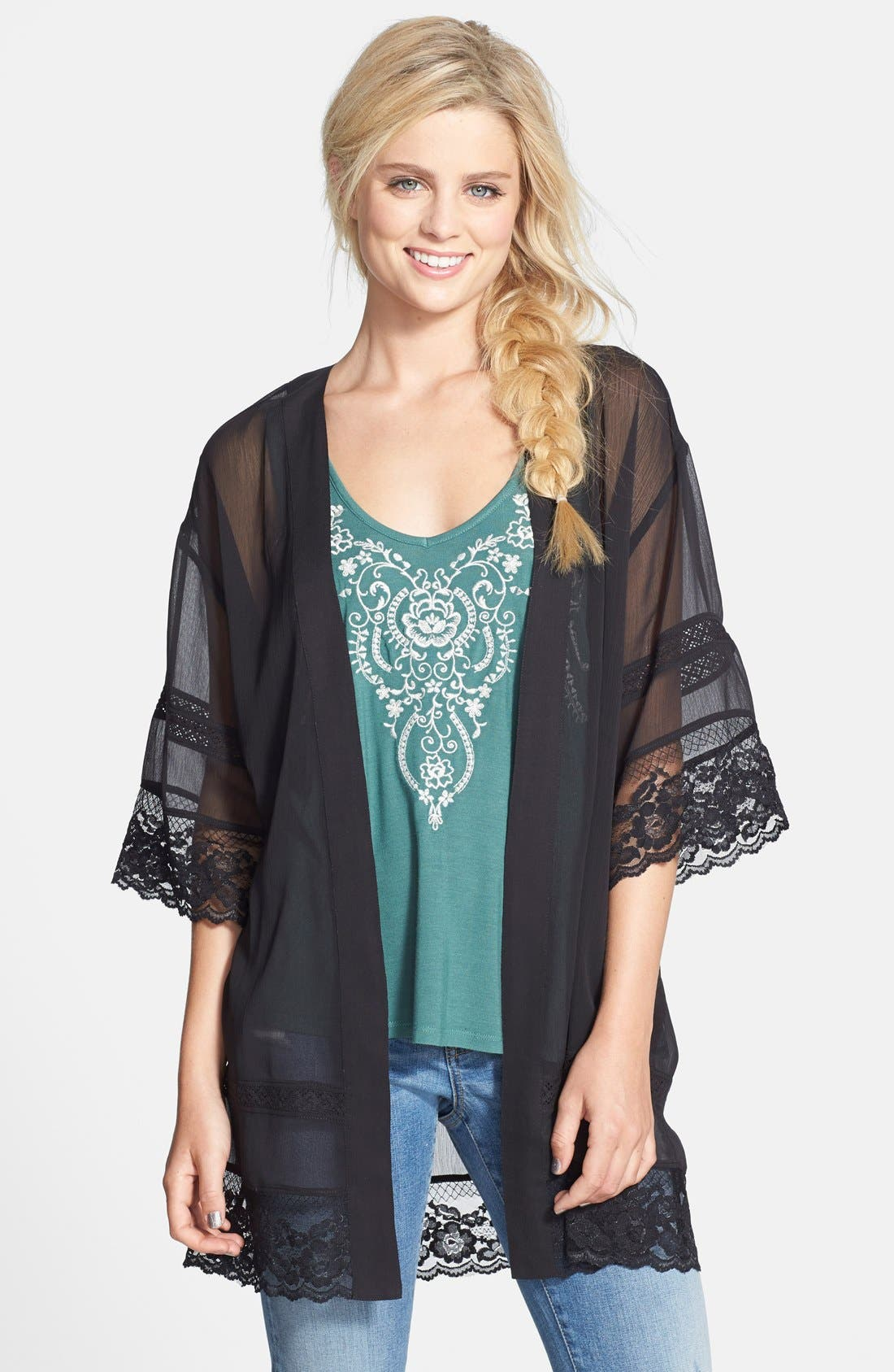 BP. Lace Trim Kimono, Main, color, 001