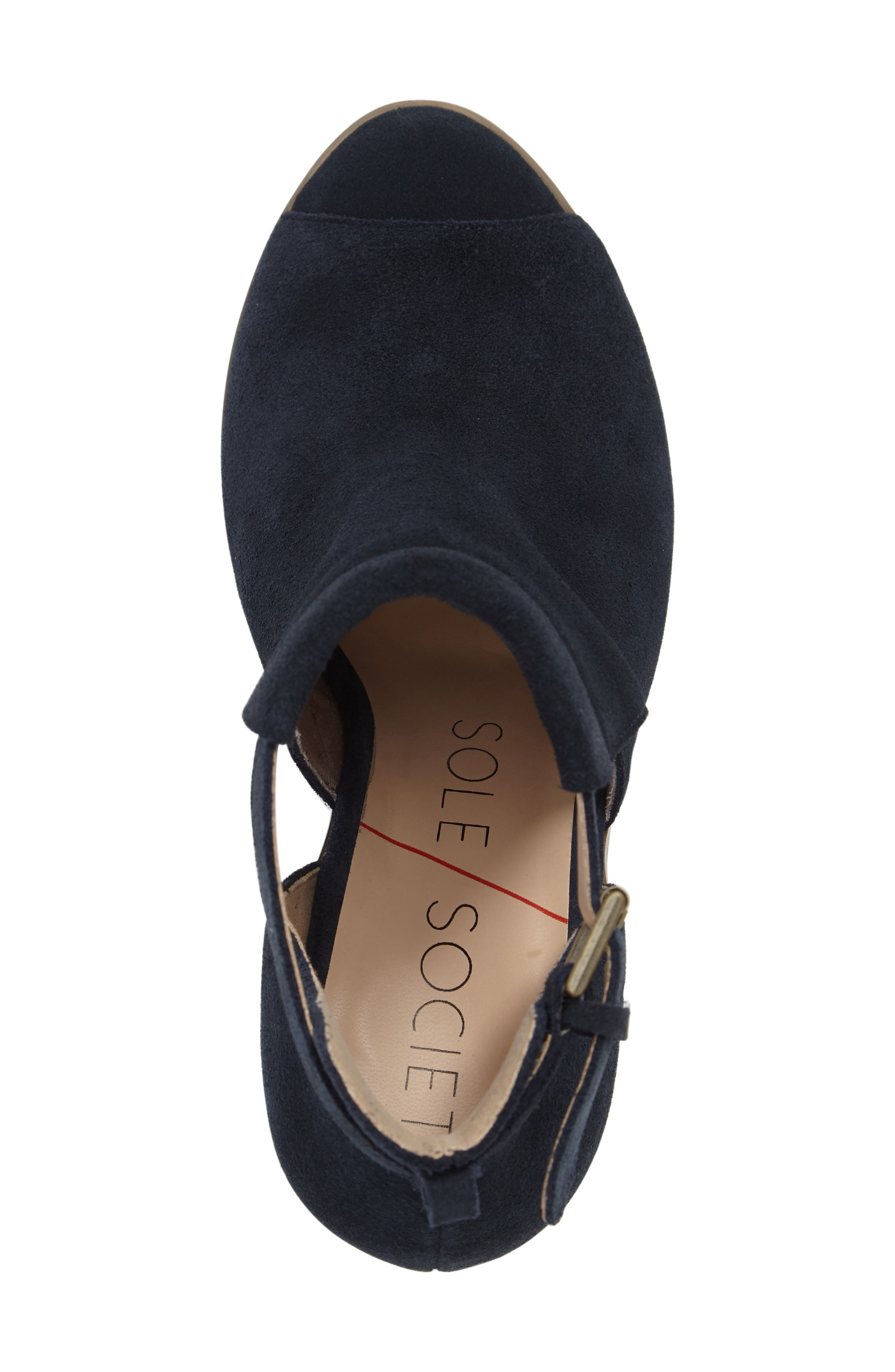 SOLE SOCIETY, 'Ferris' Open Toe Bootie, Alternate thumbnail 5, color, INK SUEDE