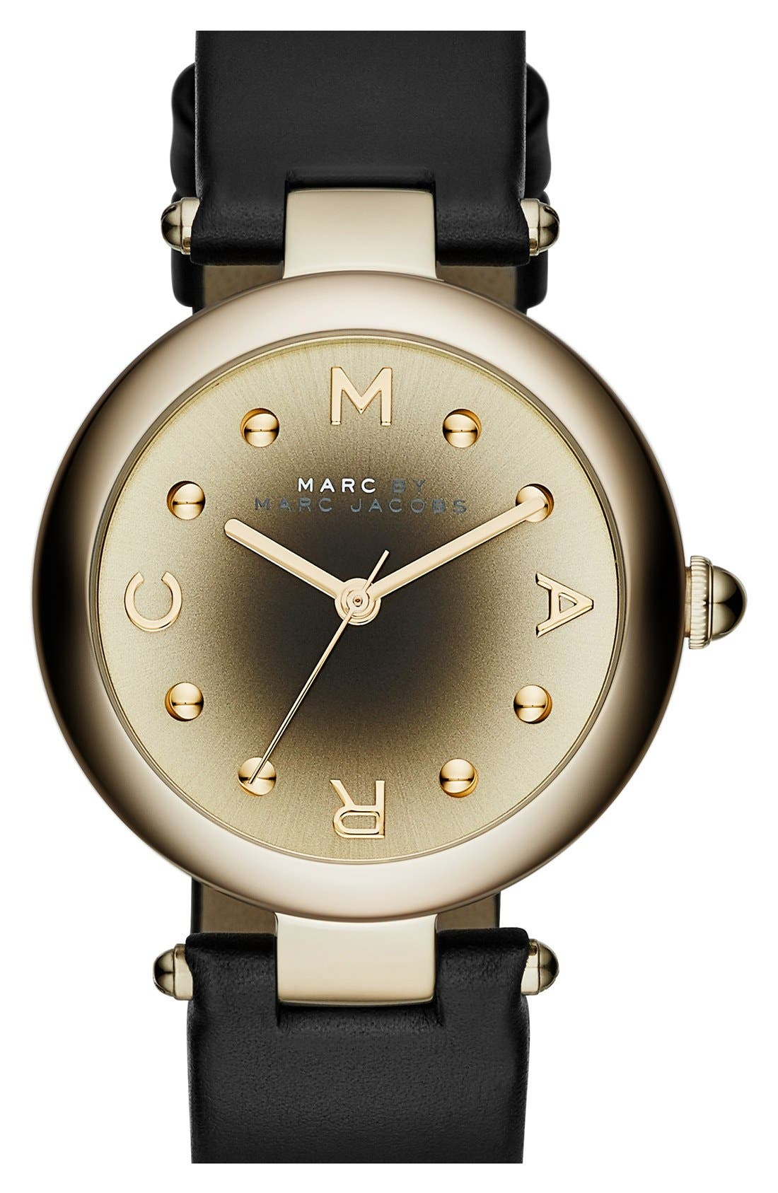 MARC JACOBS, 'Dotty' Leather Strap Watch,34mm, Main thumbnail 1, color, 001