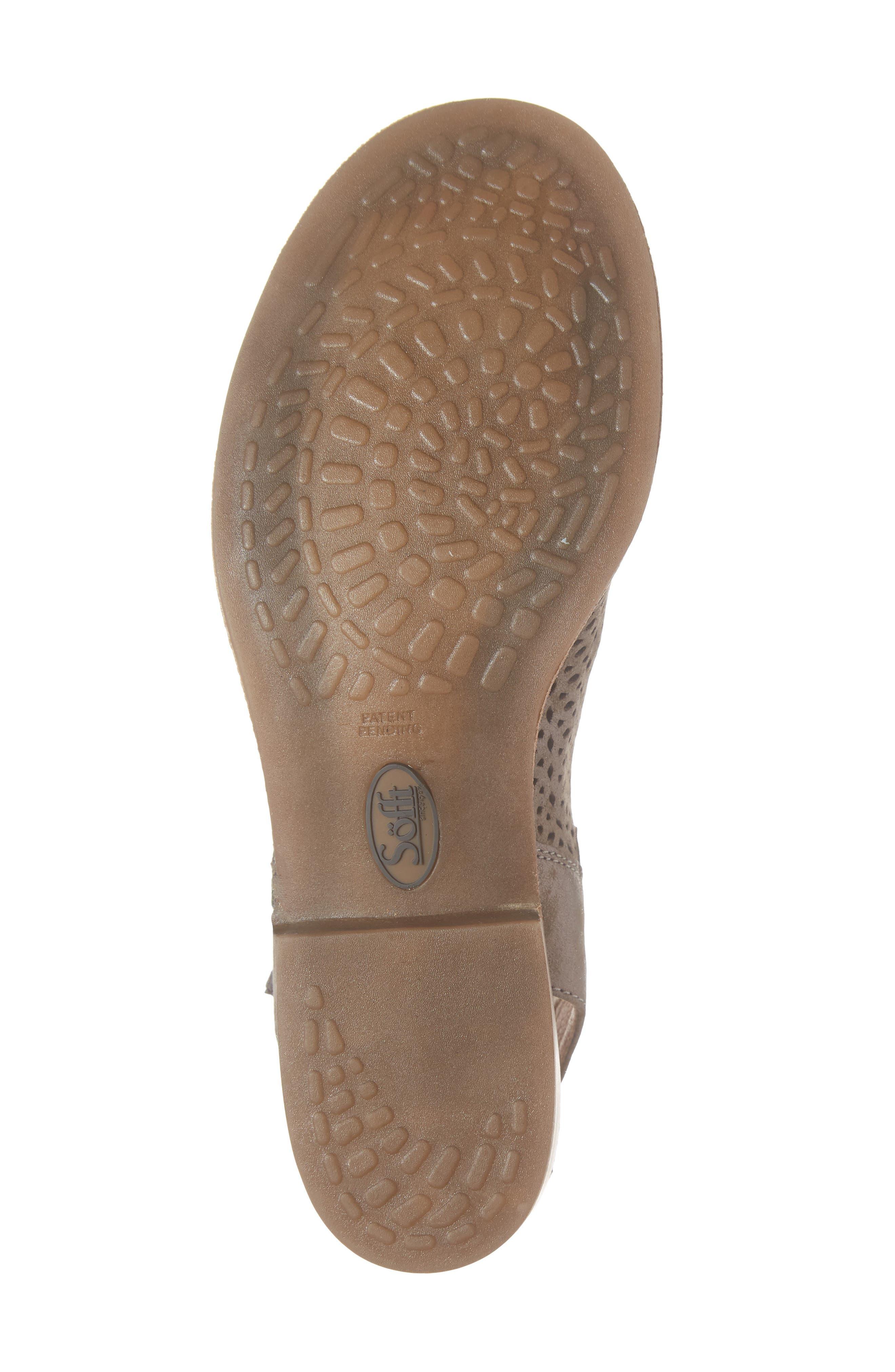 SÖFFT, Natesa Perforated Sandal, Alternate thumbnail 6, color, SMOKE SUEDE