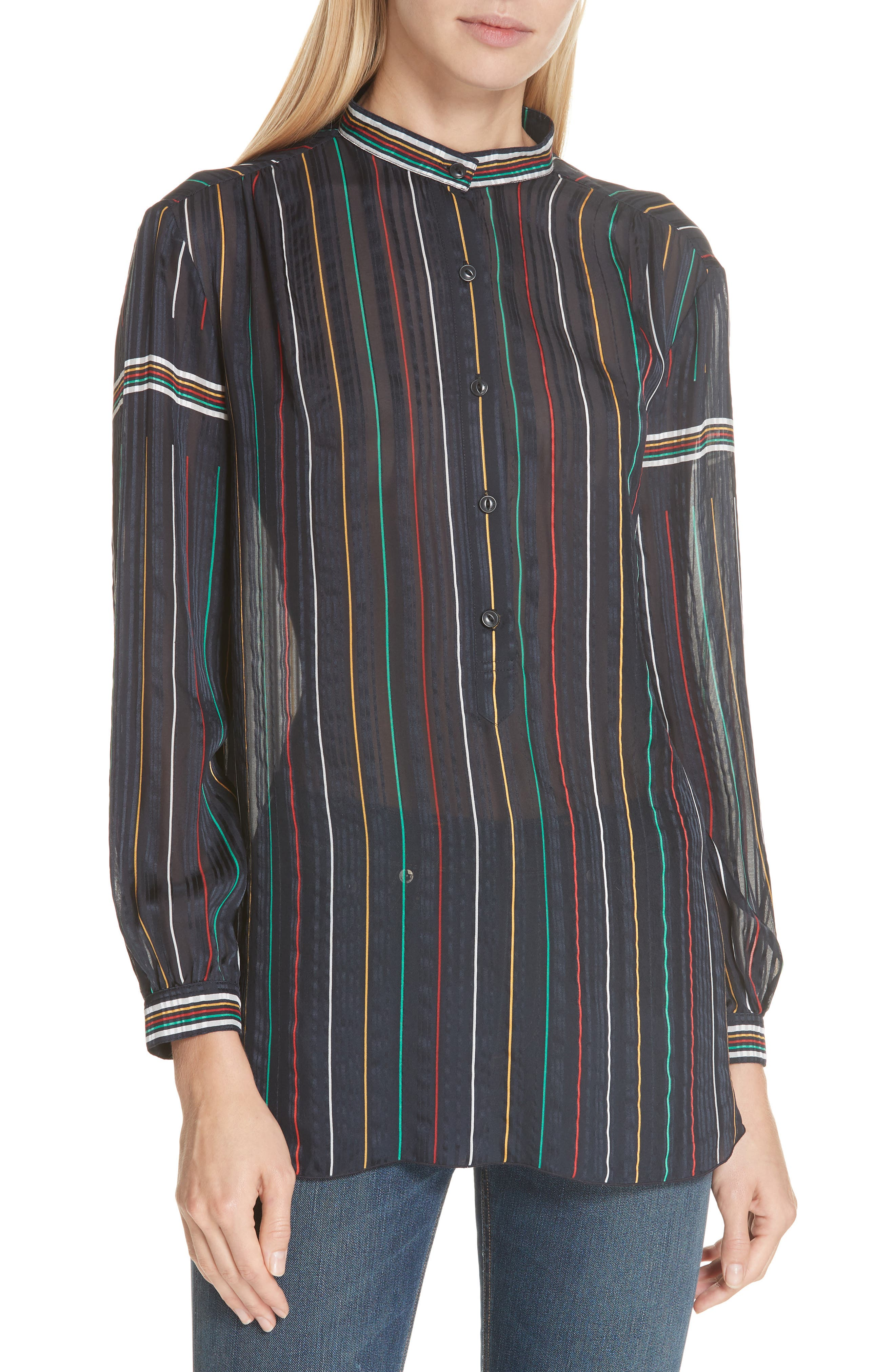 RAG & BONE Austin Stripe Silk Shirt, Main, color, DENIM BLUE