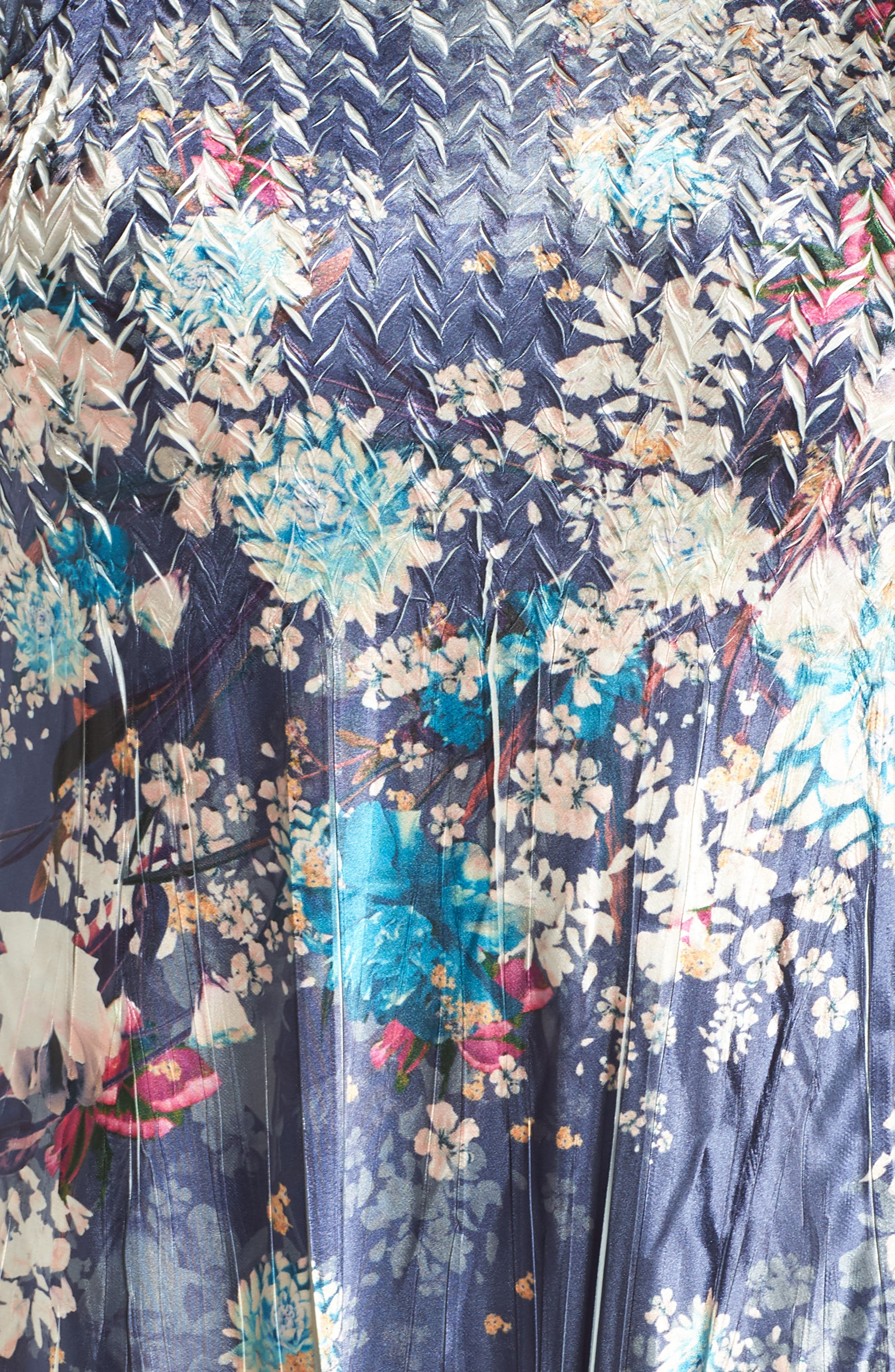 KOMAROV, Print Charmeuse & Chiffon A-Line Dress, Alternate thumbnail 6, color, CELESTIAL MEADOW