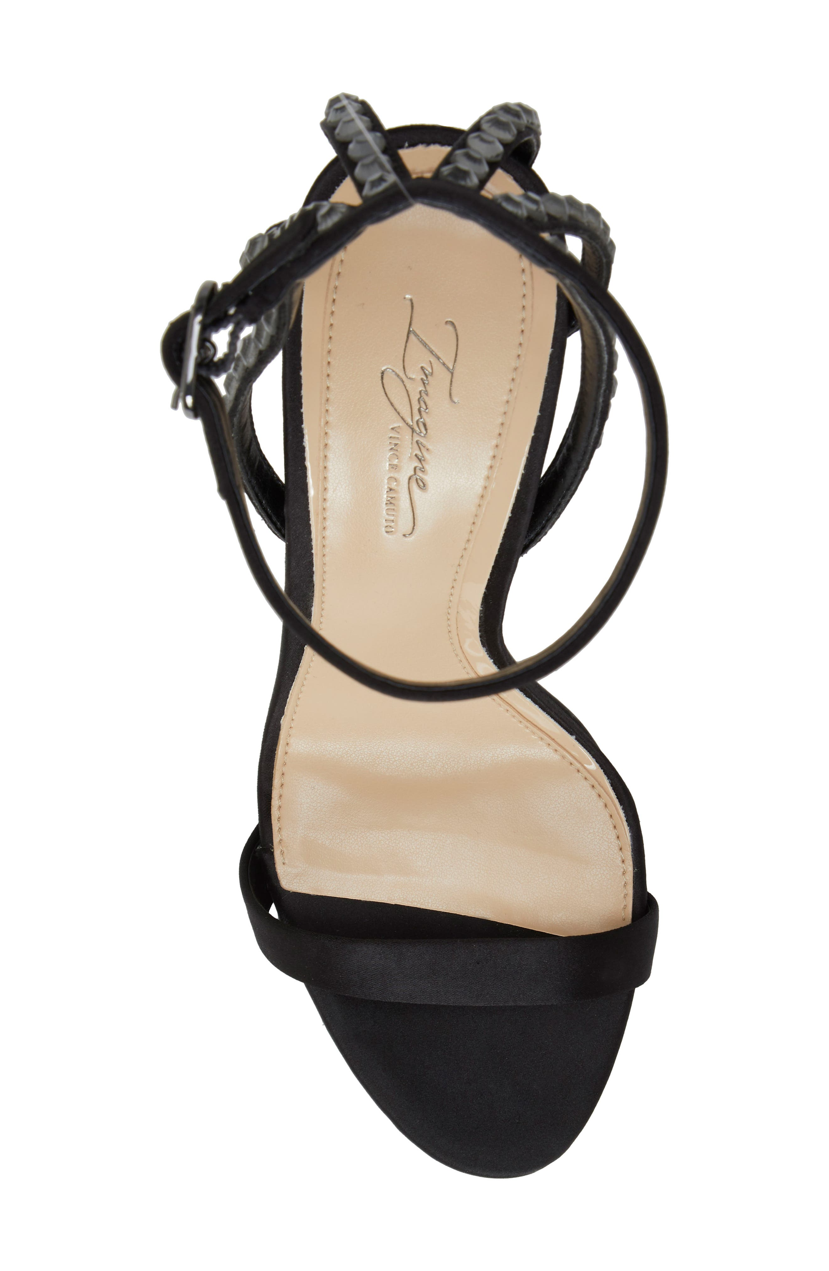 IMAGINE BY VINCE CAMUTO, Daphee Crystal Embellished Sandal, Alternate thumbnail 5, color, BLACK SATIN