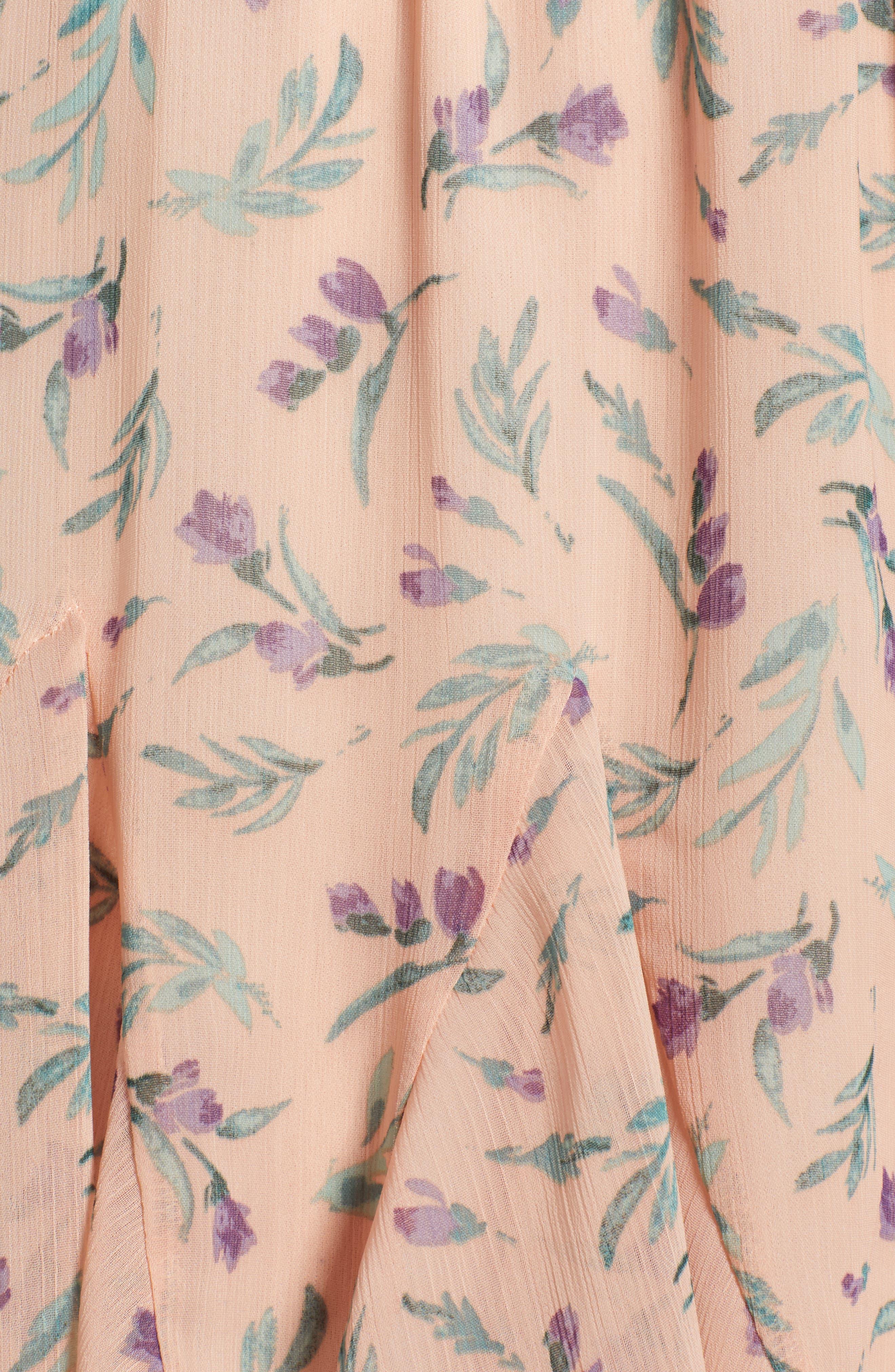 ROW A, Floral Print Romper, Alternate thumbnail 6, color, 950