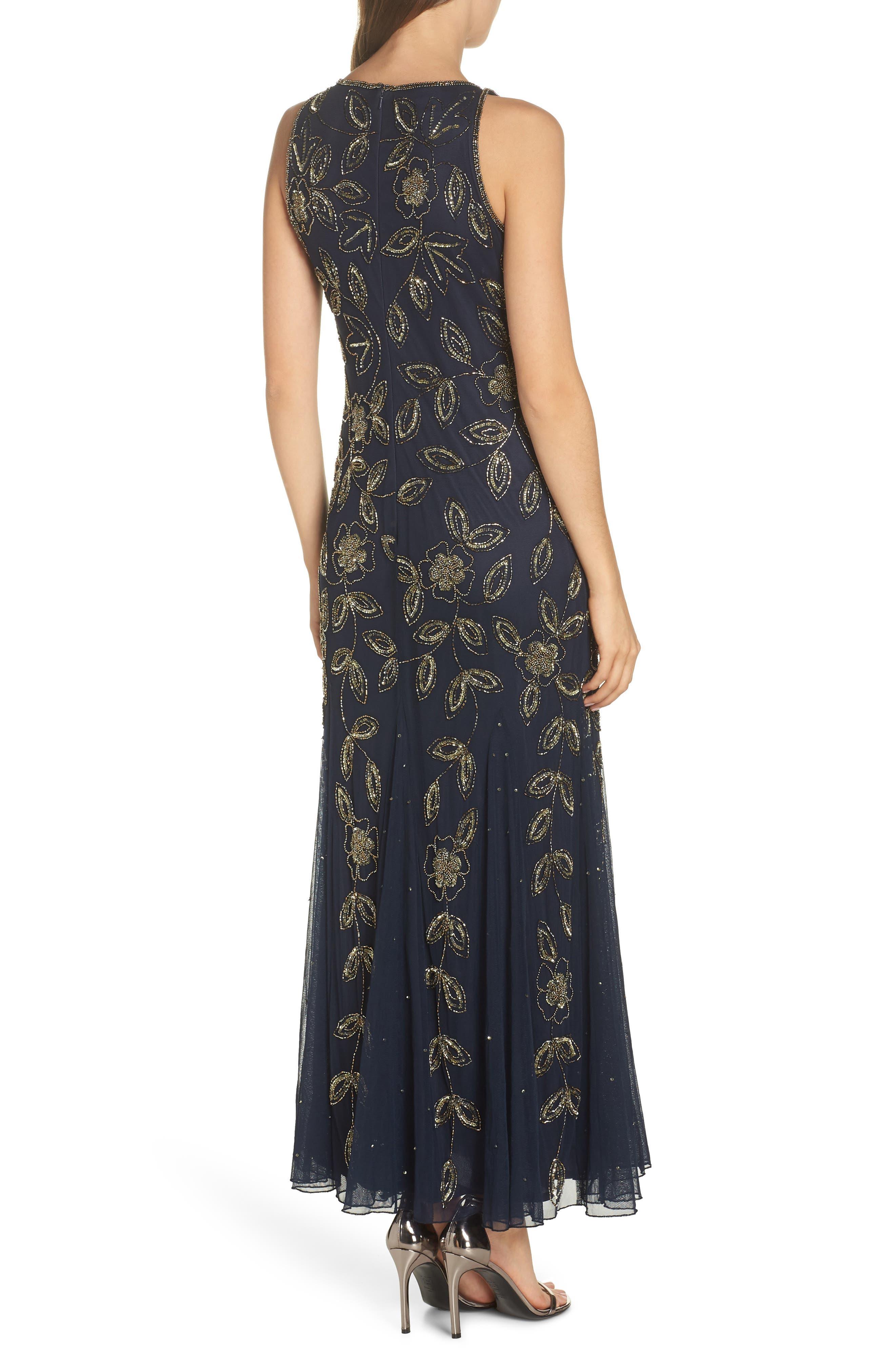 PISARRO NIGHTS, Beaded Godet Gown, Alternate thumbnail 2, color, 410