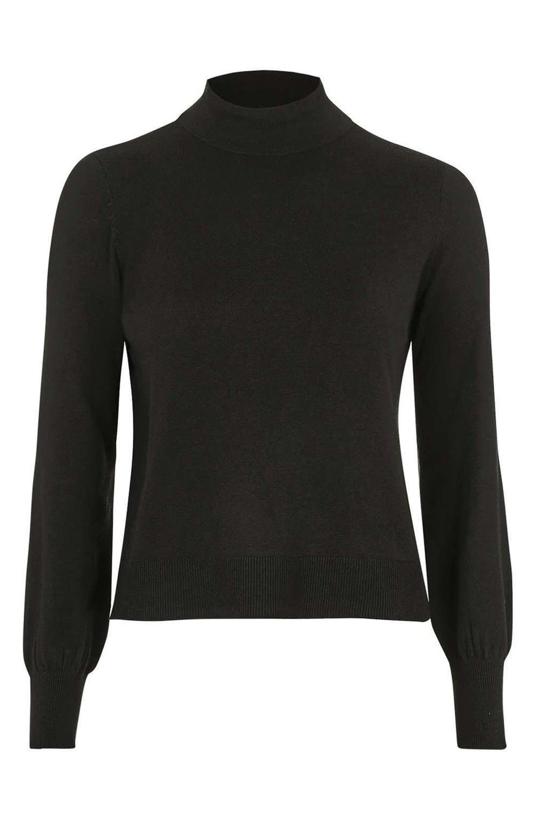 TOPSHOP, Blouson Sleeve Mock Neck Sweater, Alternate thumbnail 4, color, 001