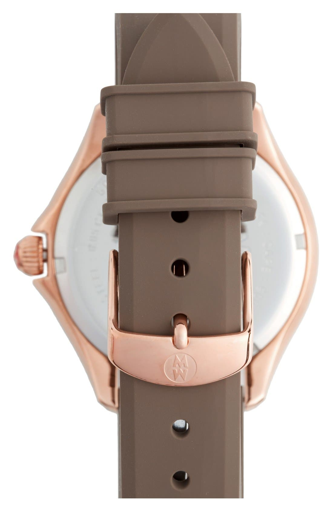 MICHELE, 'Cape' Topaz Dial Silicone Strap Watch, 40mm, Alternate thumbnail 2, color, 200