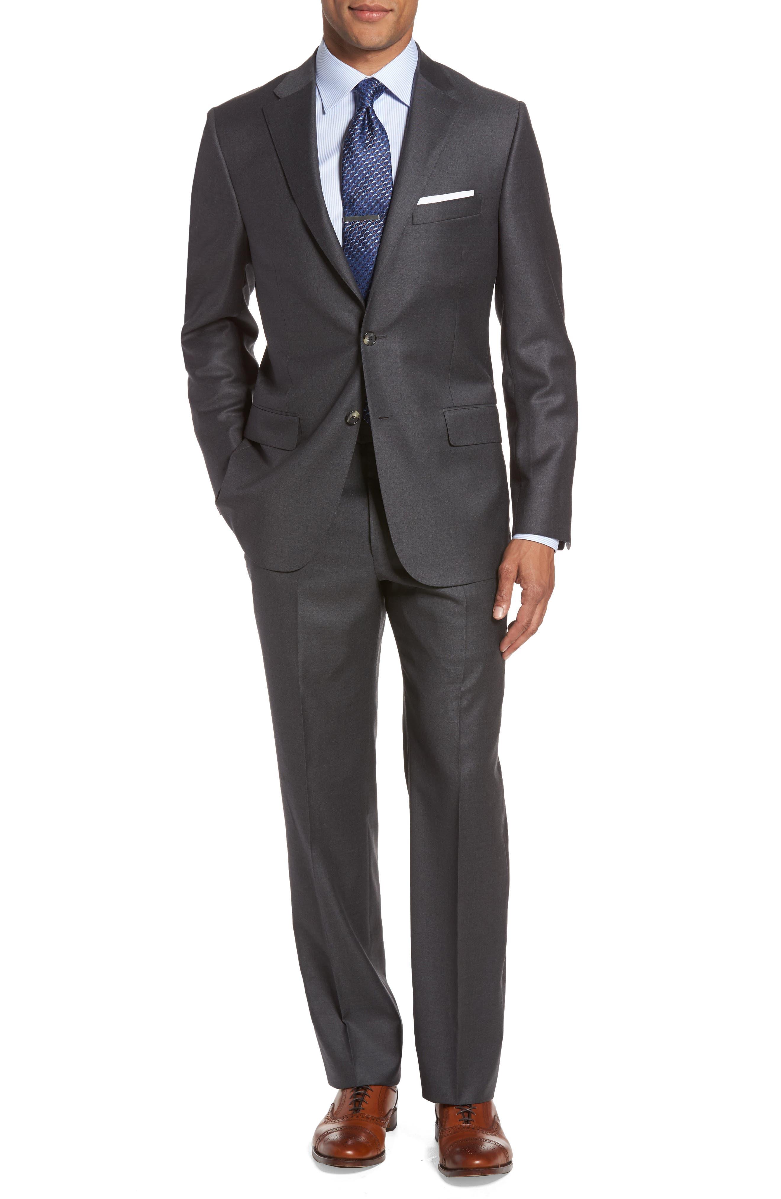 HICKEY FREEMAN, Classic B Fit Loro Piana Wool Suit, Main thumbnail 1, color, GREY