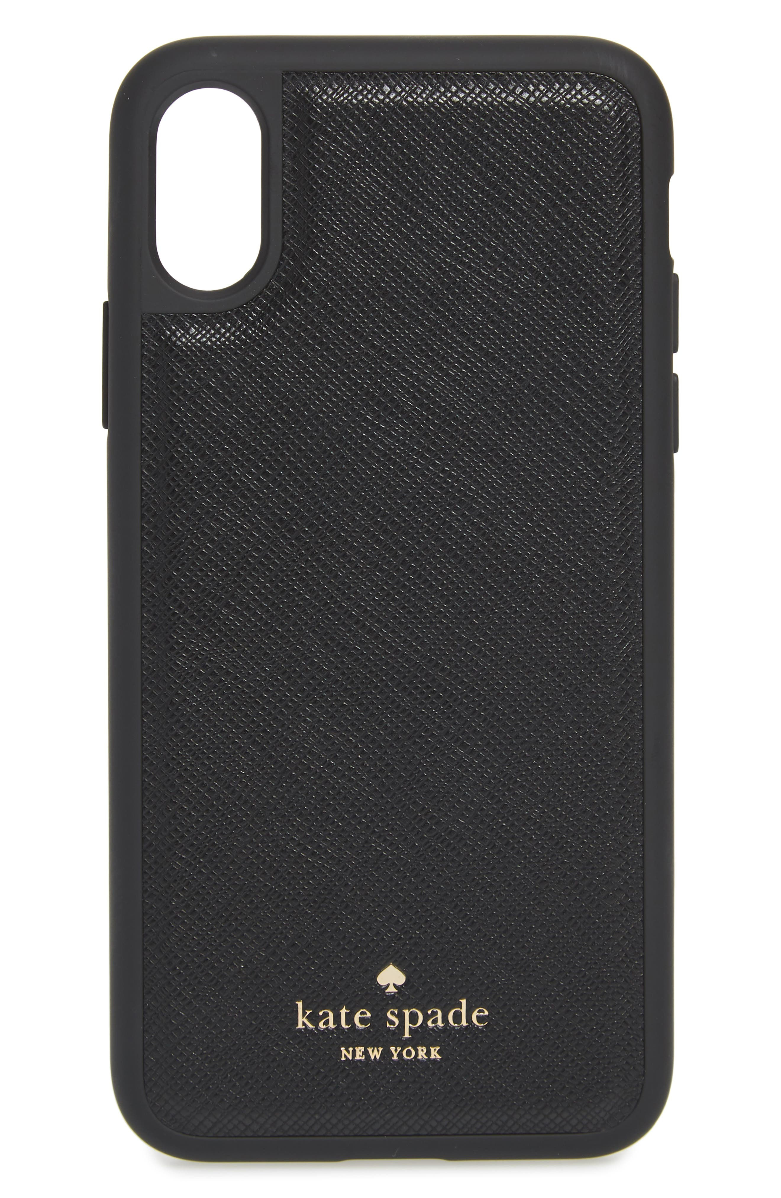 KATE SPADE NEW YORK, iPhone X/Xs/Xs Max & XR magnetic wrap folio case, Alternate thumbnail 4, color, BLACK/ TUSK